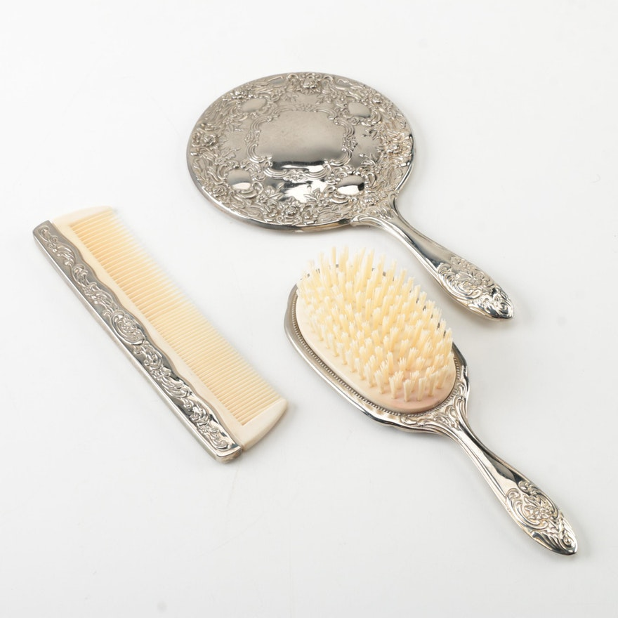 Vintage Silver Tone Vanity Set Featuring Hand Mirror Hairbrush And
