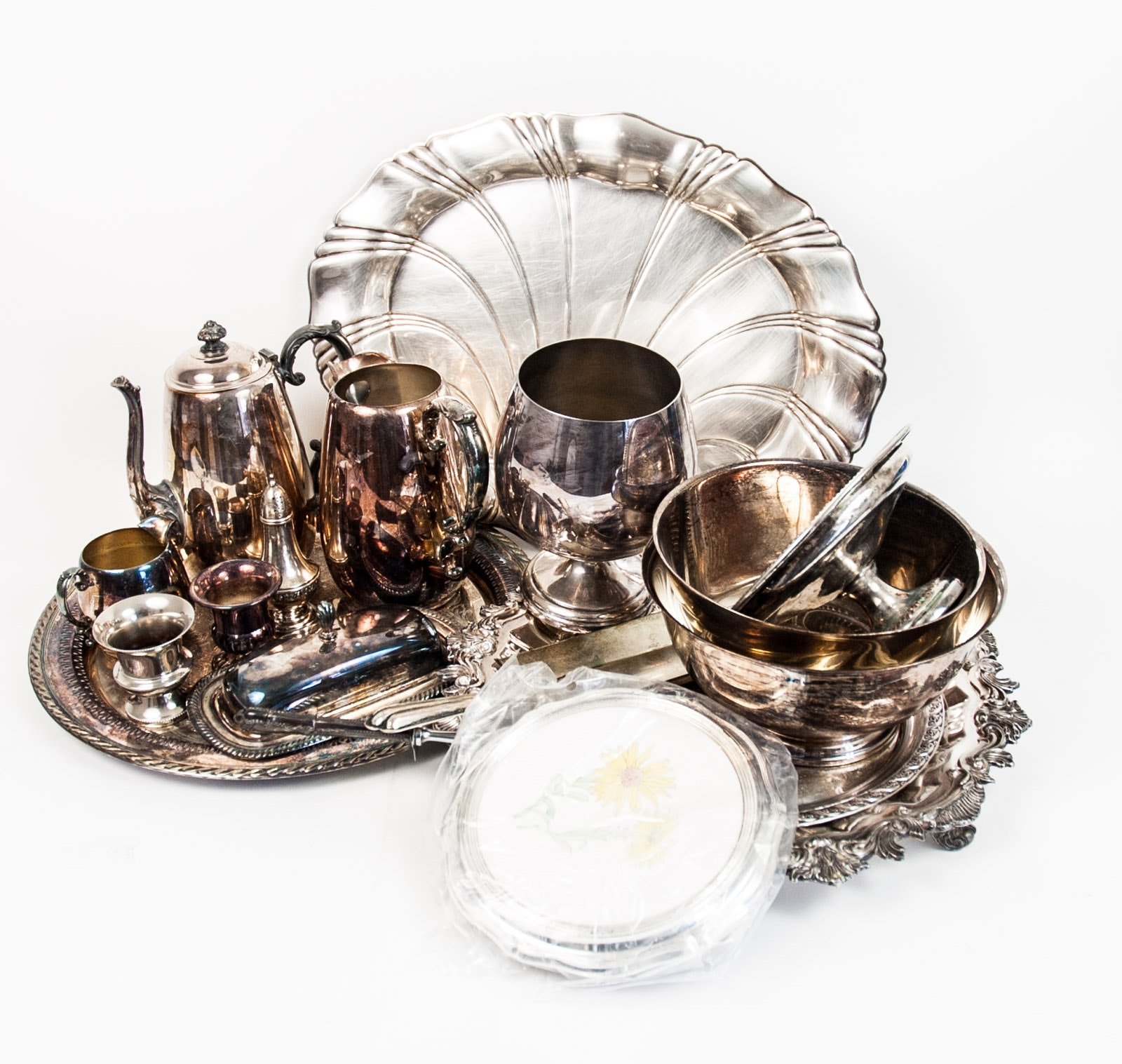 Revere Style Bowls and Other Plated Silver Tableware