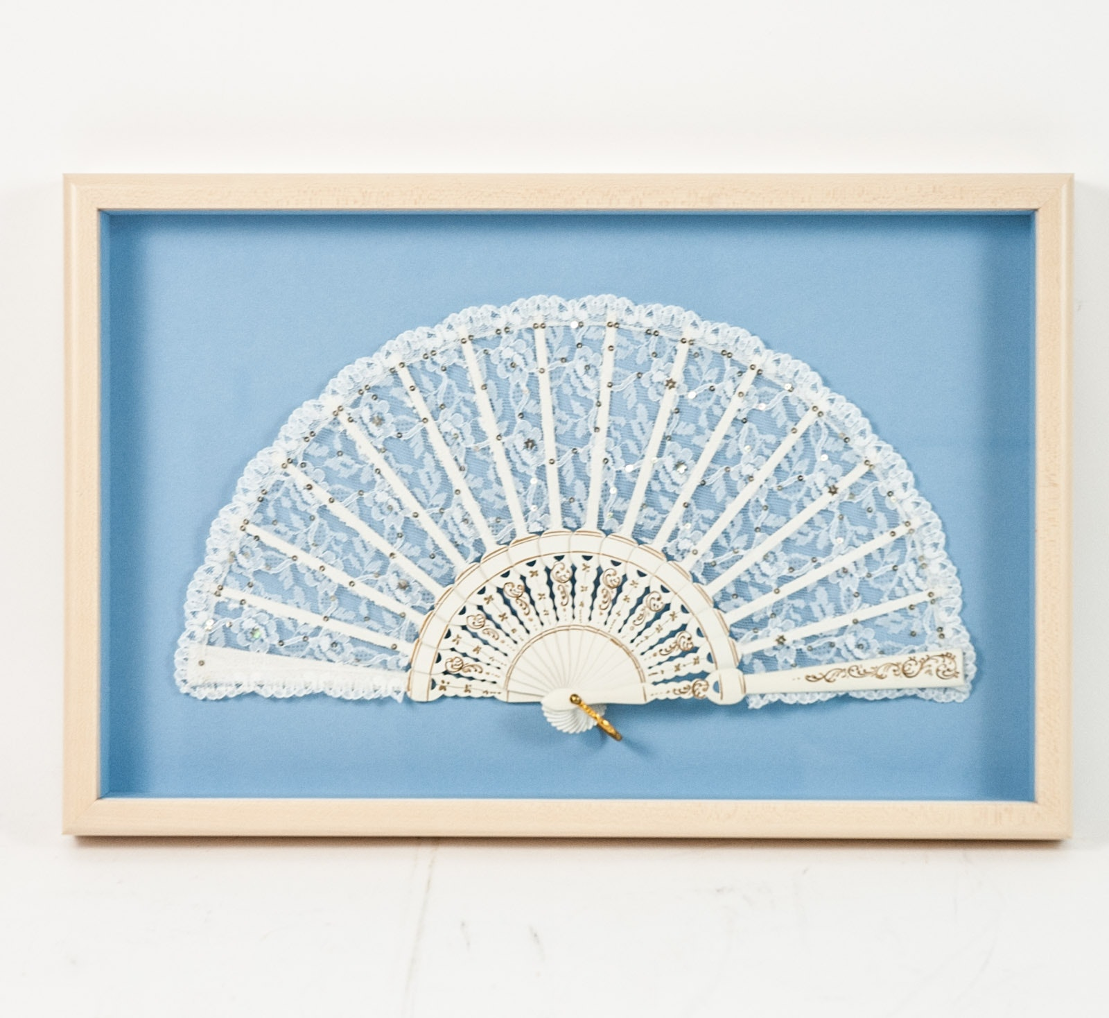 Framed Folding Lace Fan