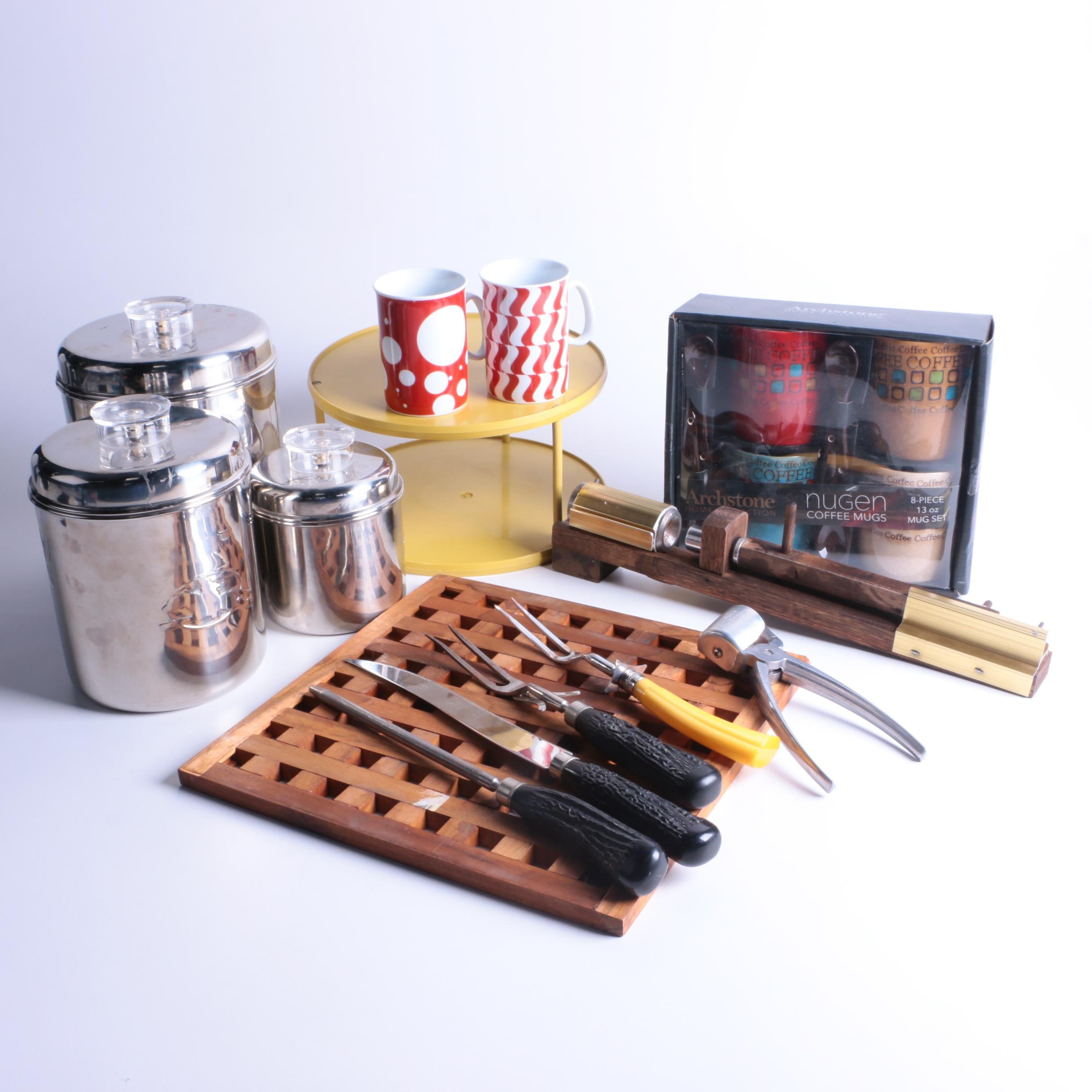 Kitchenware Including Vintage Canisters, Nugen Mugs and More