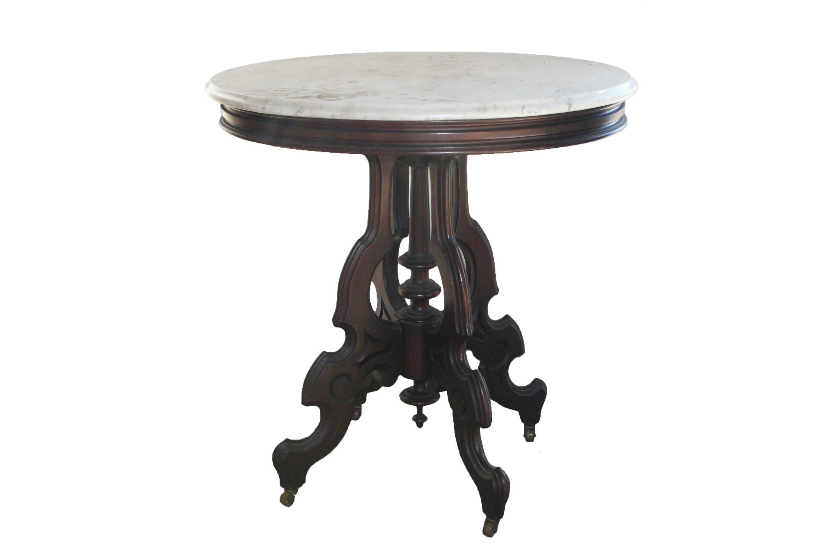 Round Victorian Marble Top Table