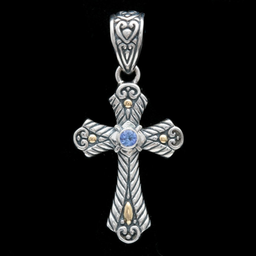 Robert manse sterling silver 18k yellow gold and tanzanite cross robert manse sterling silver 18k yellow gold and tanzanite cross pendant aloadofball Choice Image
