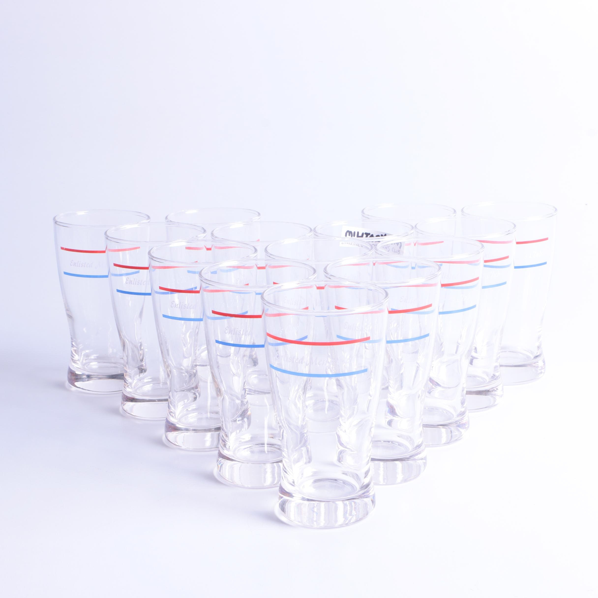 Enlisted Men's Club Military Etched Glassware