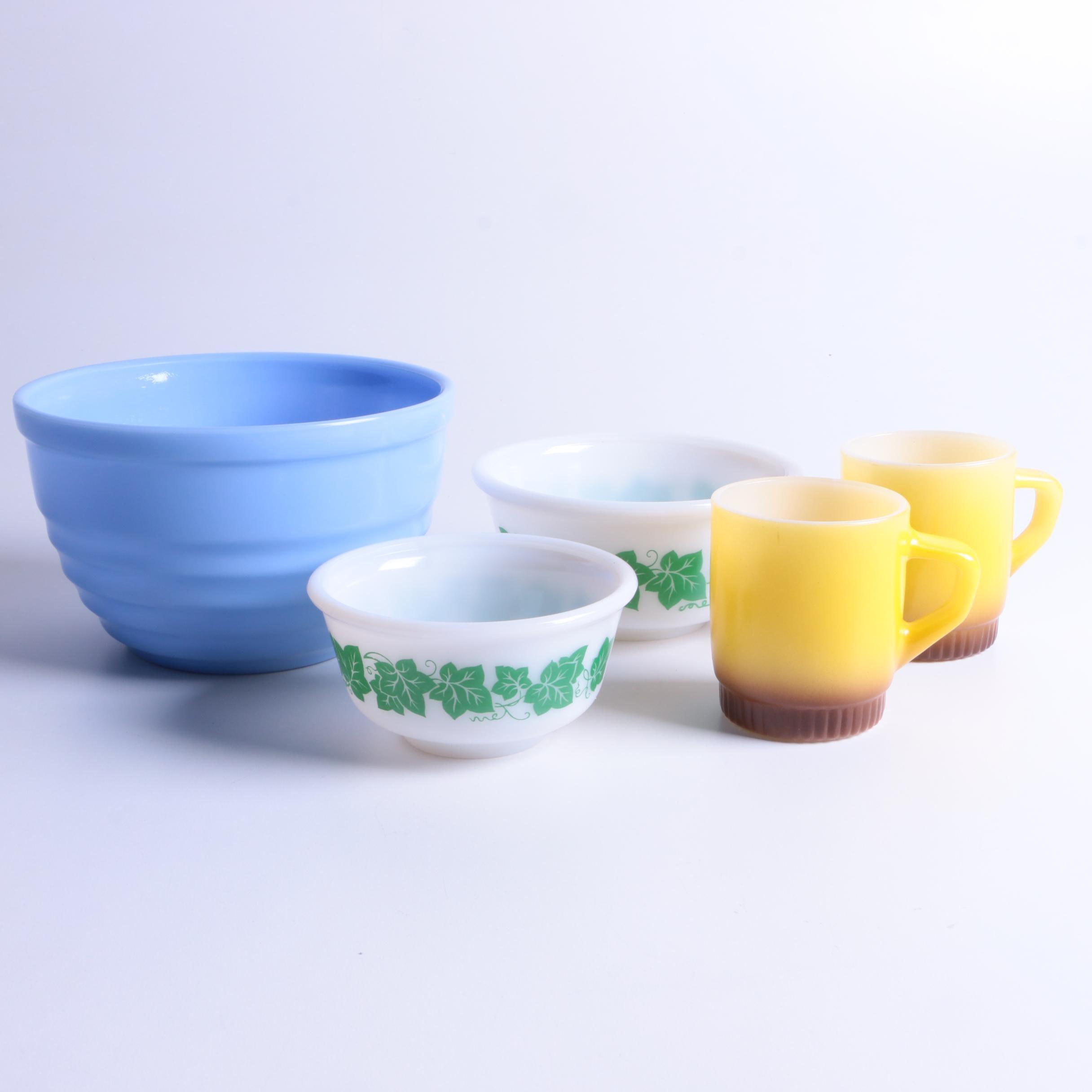 "Vintage Hazel Atlas ""Green Ivy"" and ""Moderntone"" Bowls with Fire-King Mugs"