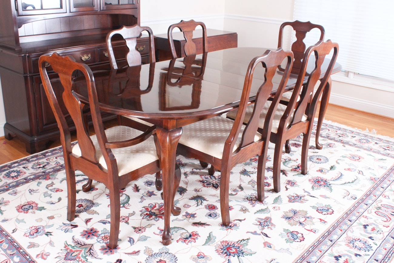 Attrayant Vintage Queen Anne Styles Mahogany Dining Furniture Set ...