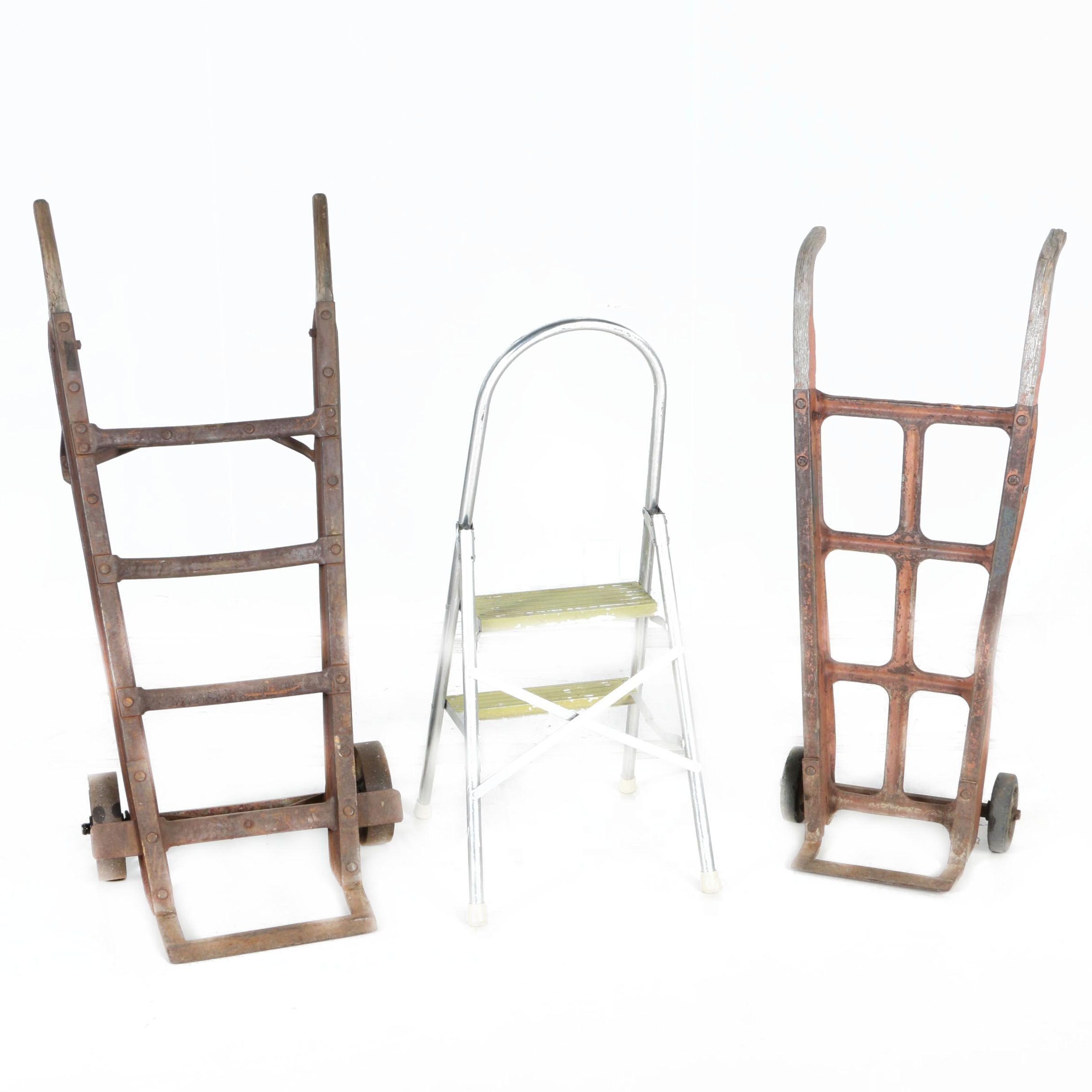 Two Vintage Wood and Metal Dollies and Step Stool