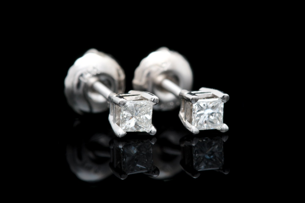 14K White Gold and Princess Cut Diamond Stud Earrings
