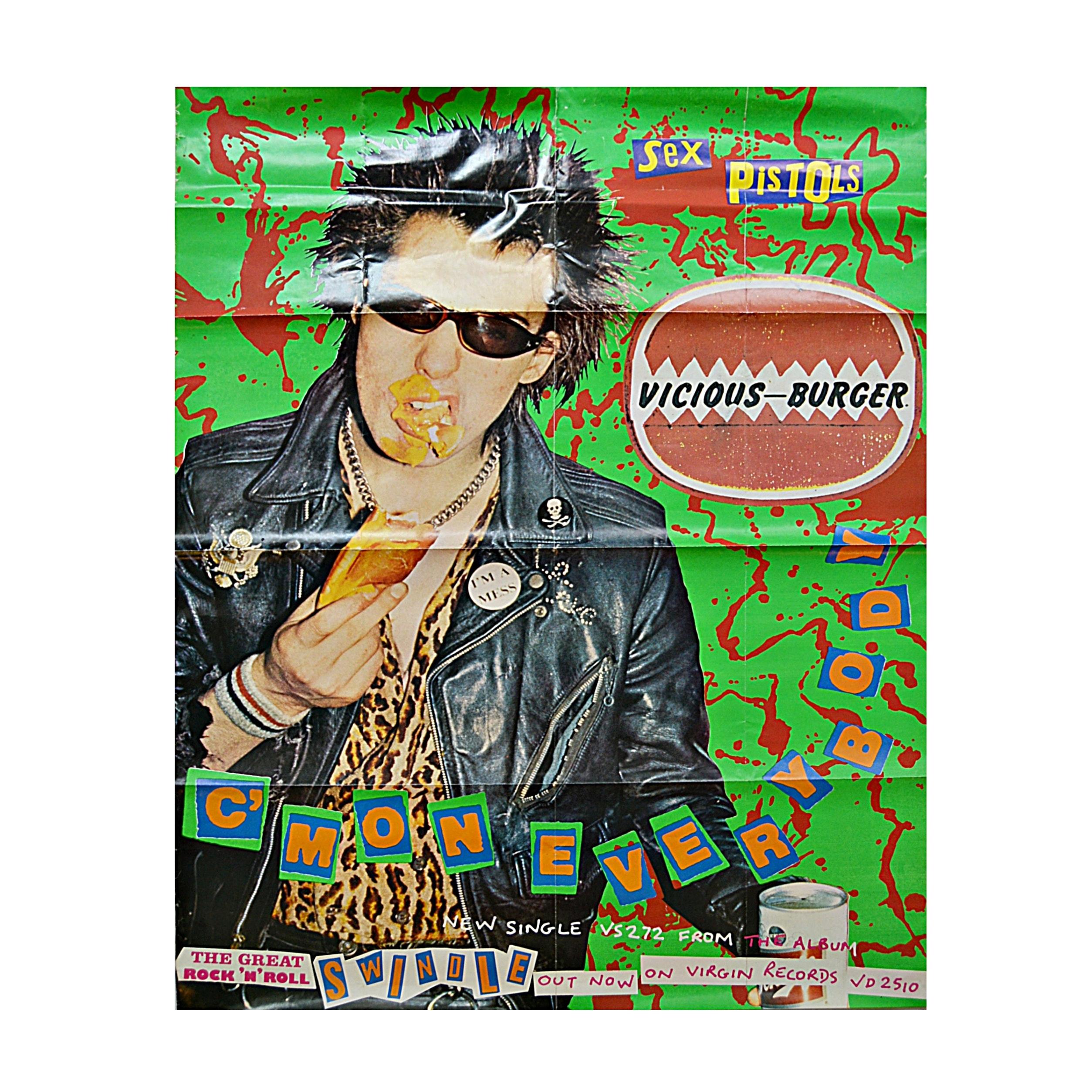 """Original Jamie Reid-Designed 1970s Sex Pistols """"Vicious Burgers"""" Poster"""
