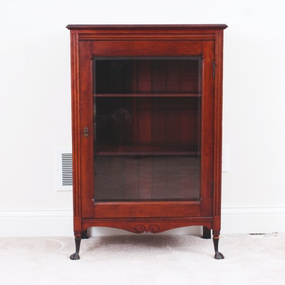 Vintage Cherry Wood Curio Cabinet - Vintage And Antique Cabinets Auction In Sterling Silver, Housewares