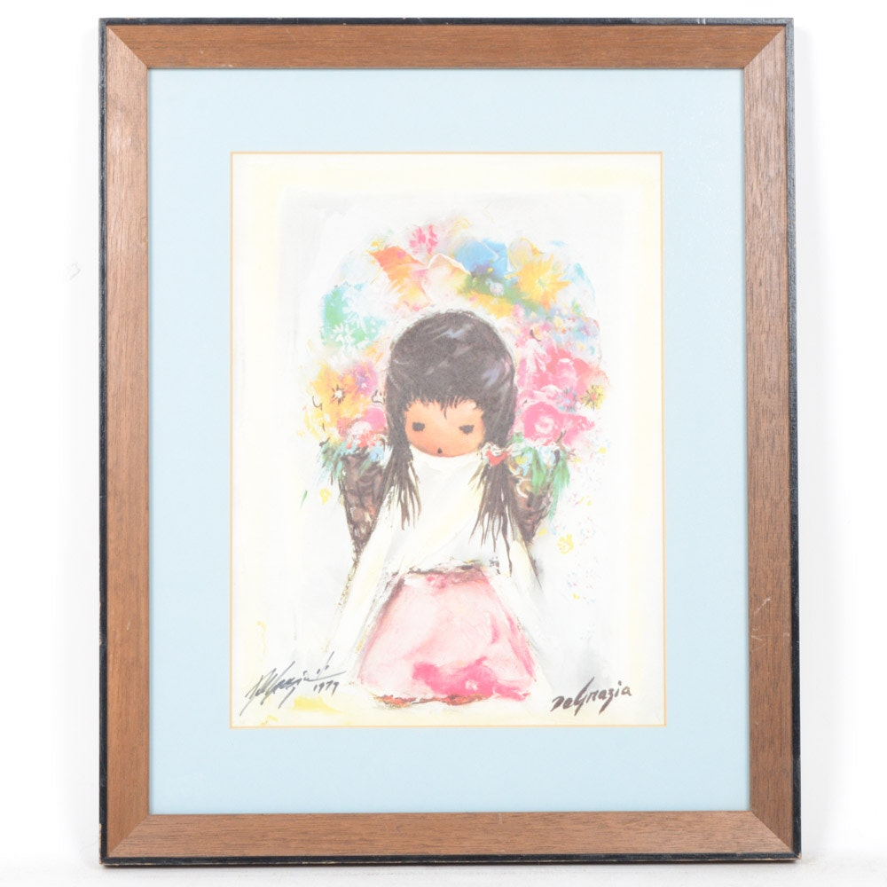 Signed Ettore DeGrazia Offset Lithograph