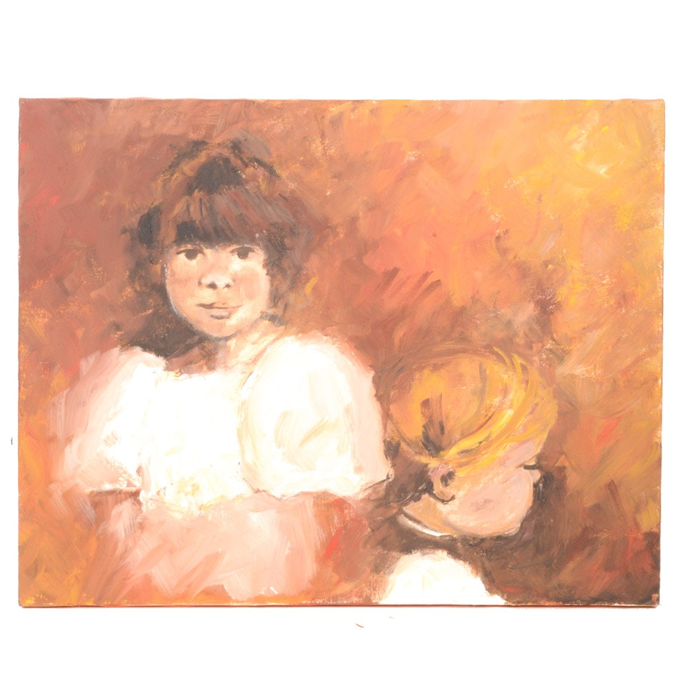 Oil on Canvas Double Portrait Painting of Young Girls