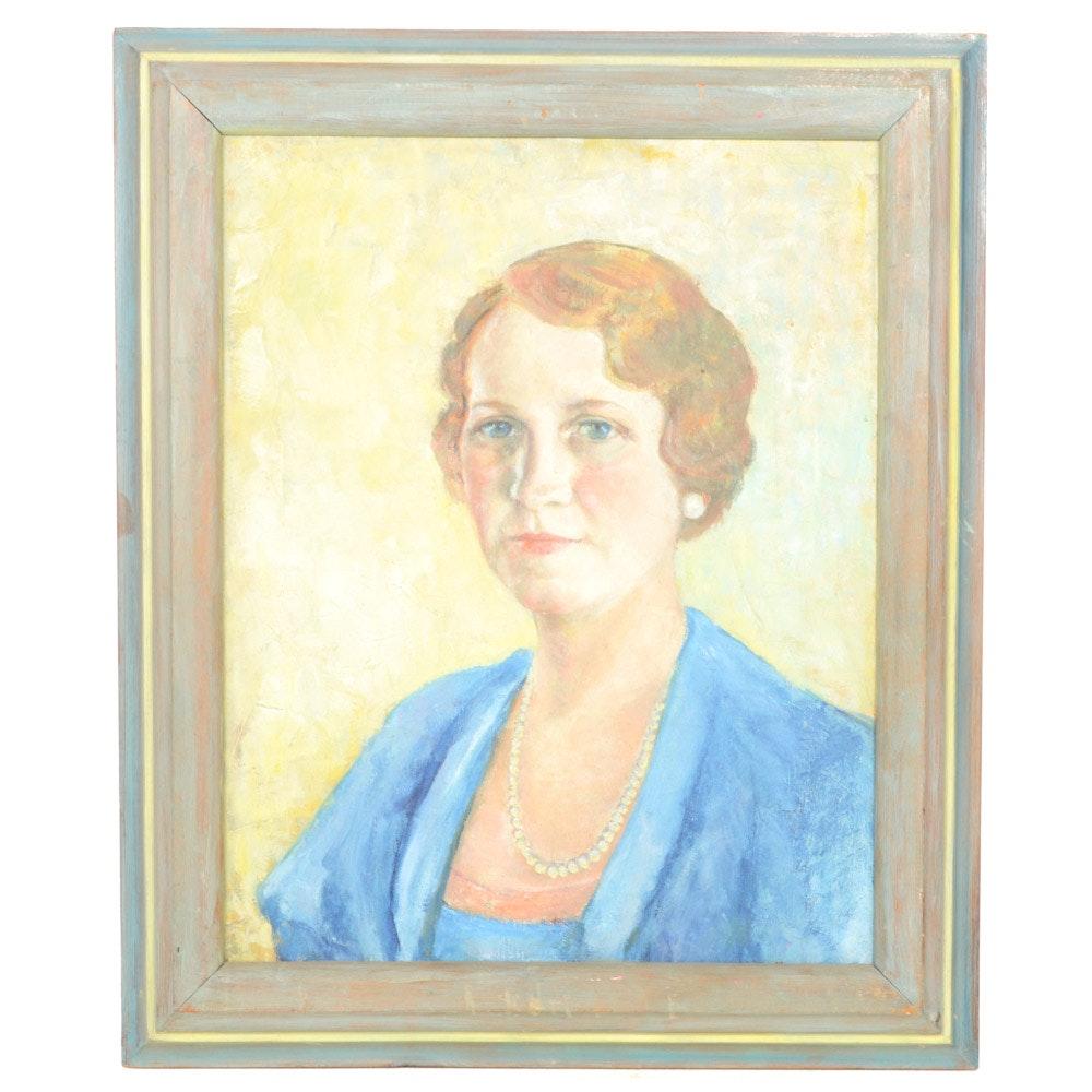 "Alice M. Burch Oil on Canvas Self-Portrait Painting ""Alice Blue"""