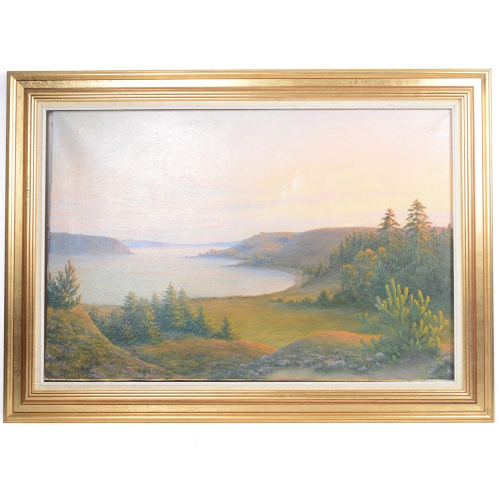 Olsen Oil on Canvas Impressionist Style Landscape Painting