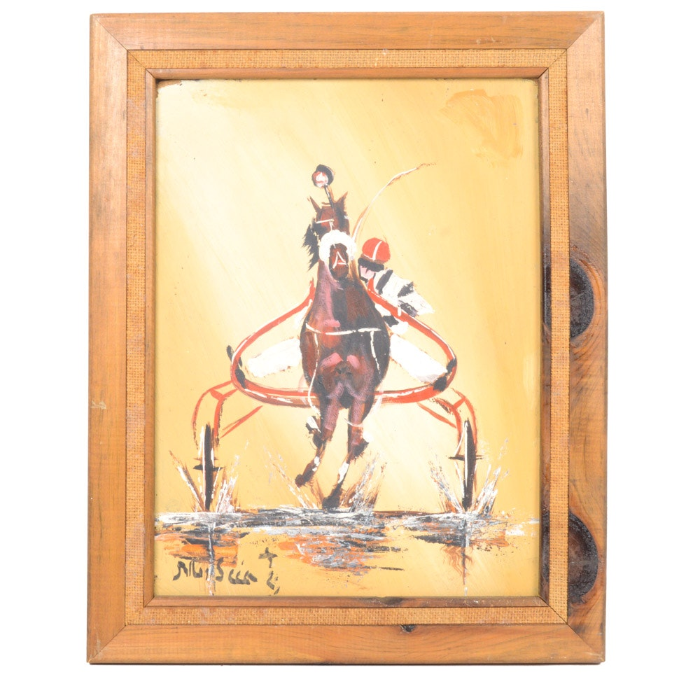 1982 Tony Musica Oil on Board Painting of Equine Race