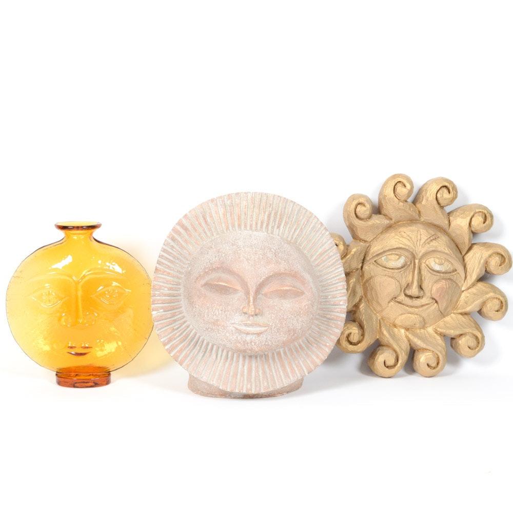 Mid Century Modern Sun Themed Decorative Art, Including Blenko