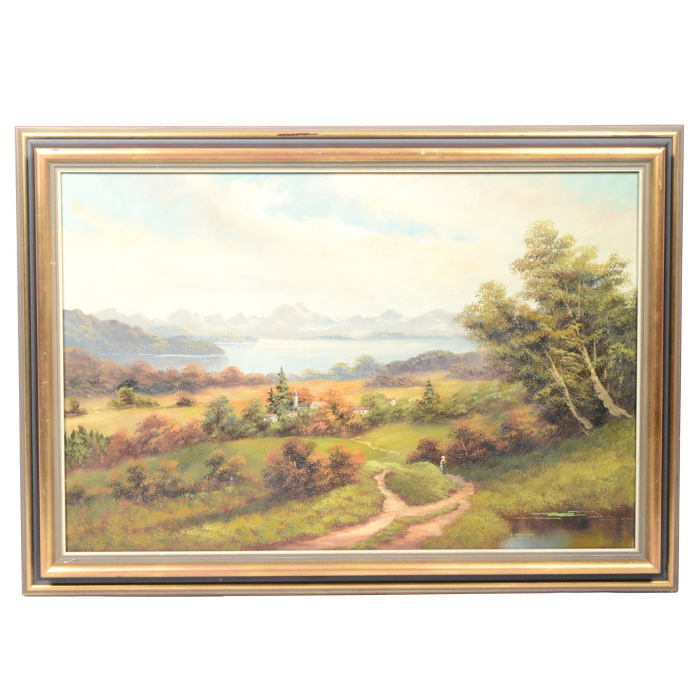 Signed Oil on Canvas Impressionist Style Countryside Landscape Painting