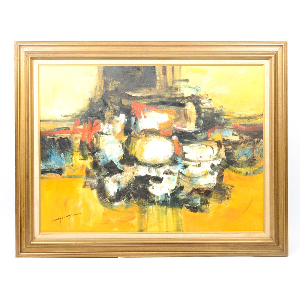 Paco Gonazpa Oil on Canvas Abstract Expressionist Style Painting