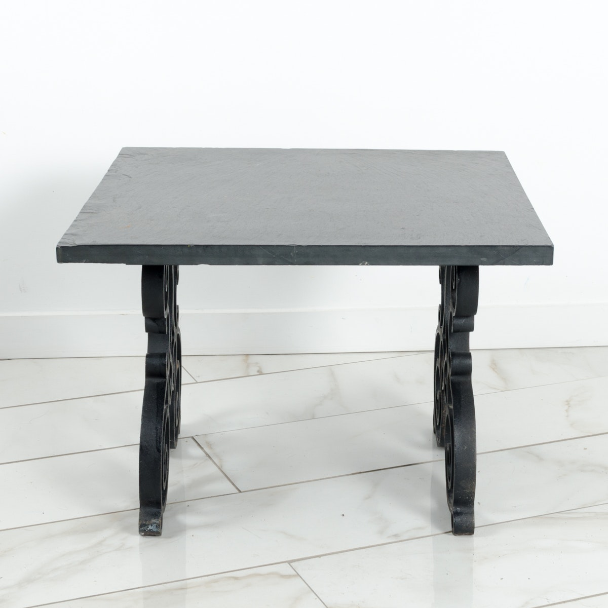 Slate and Wrought Iron Coffee or End Table