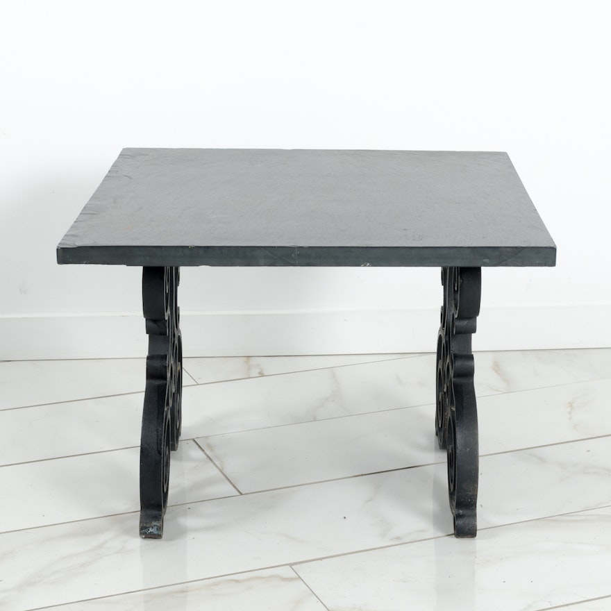 Outstanding Slate And Wrought Iron Coffee Or End Table Beatyapartments Chair Design Images Beatyapartmentscom
