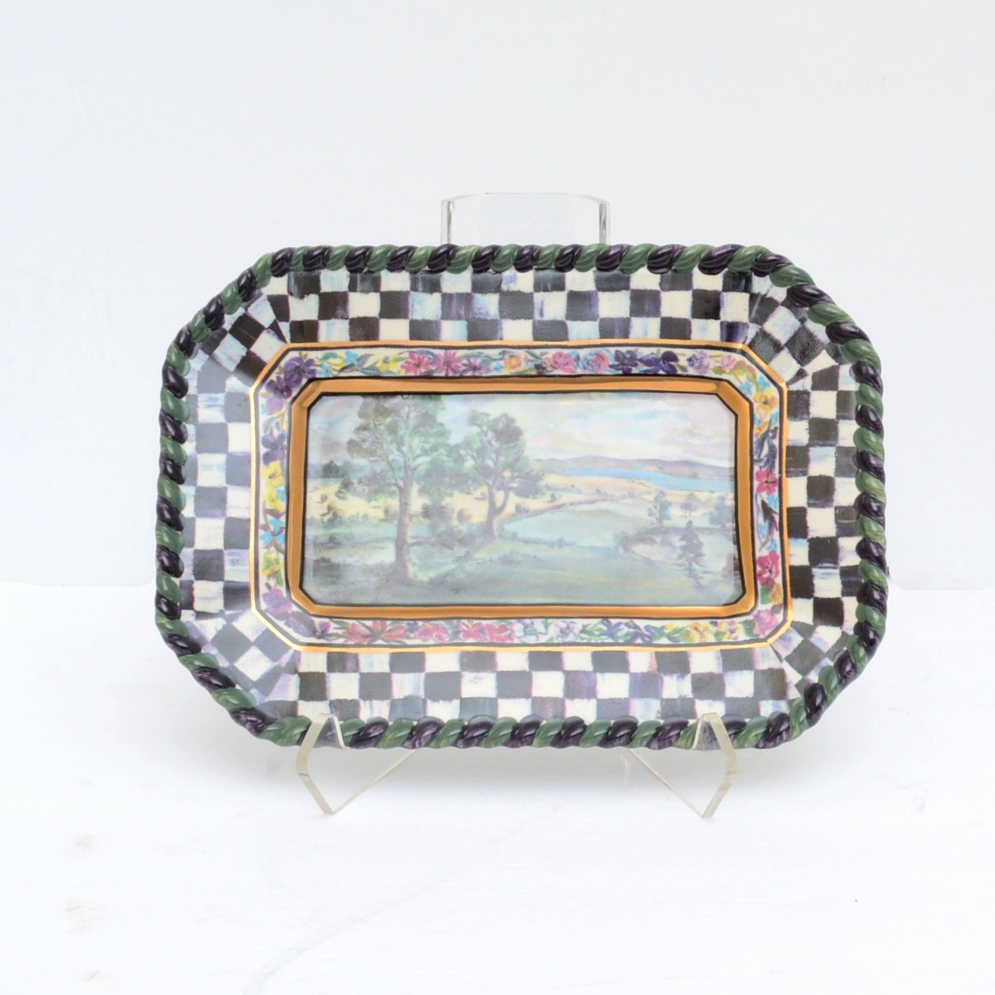 """Mackenzie-Childs """"MacLachlan"""" Pottery Hors d'Oeuvre Tray"""