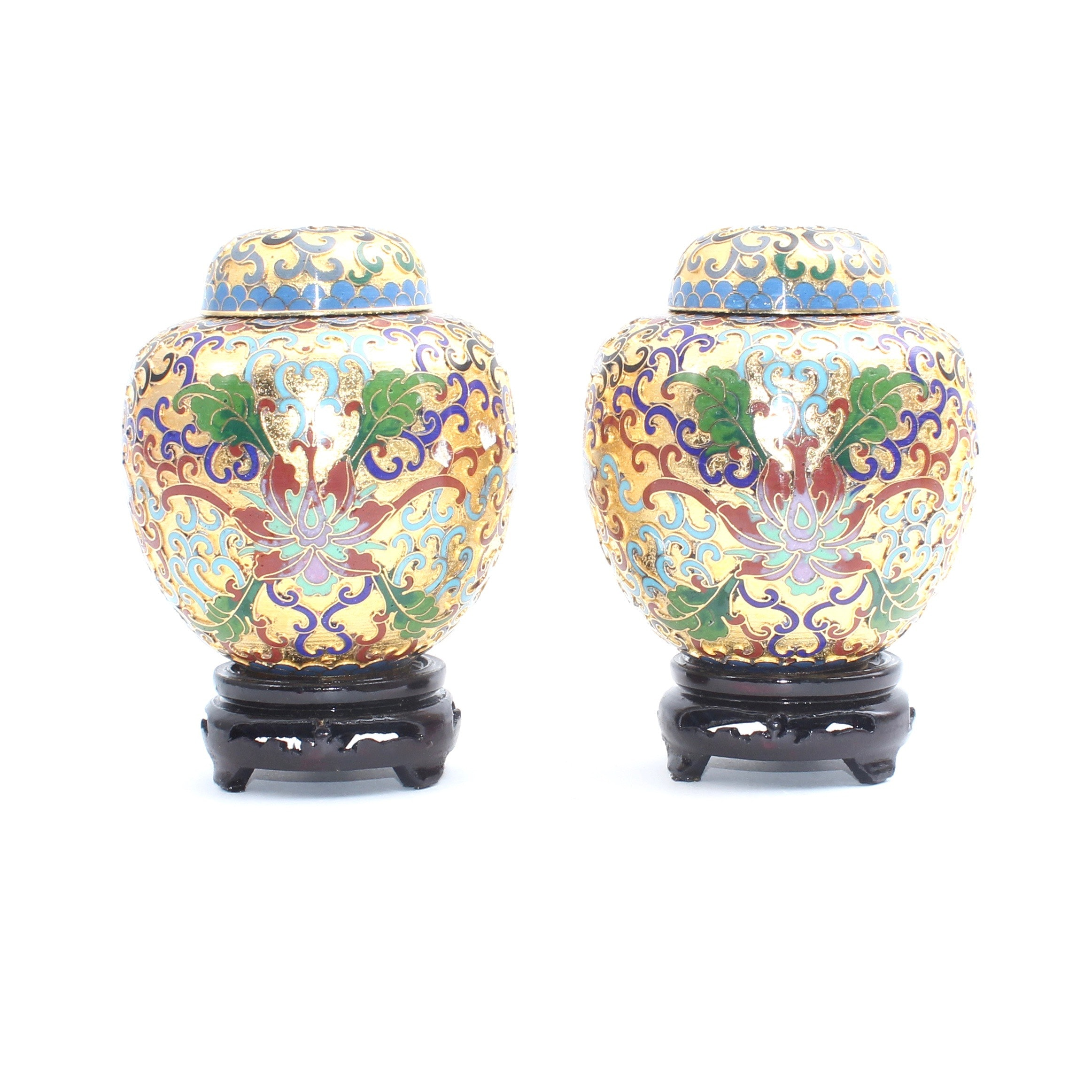 Pair of Chinese Cloisonné Ginger Jars