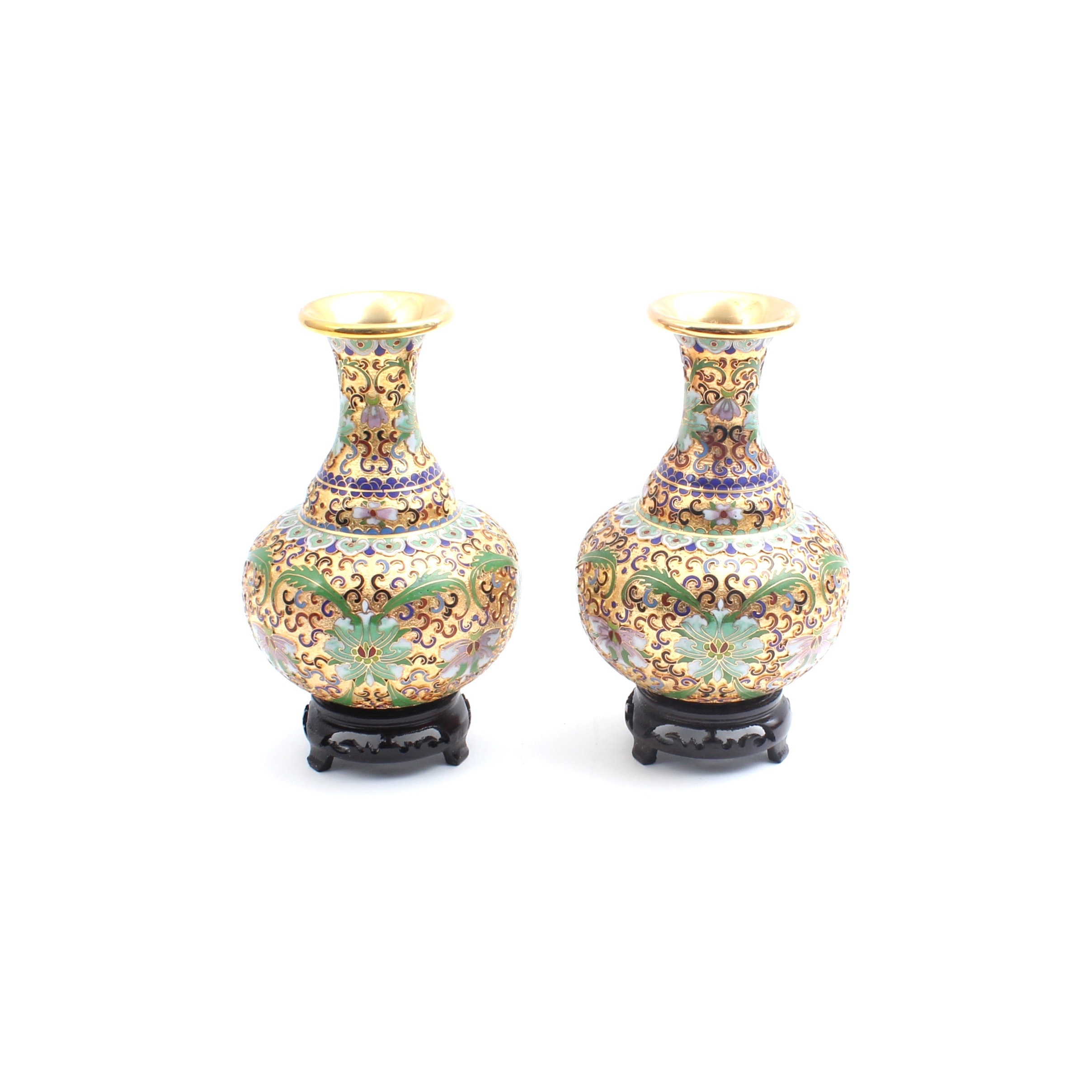 Chinese Cloisonné and Brass Bud Vases