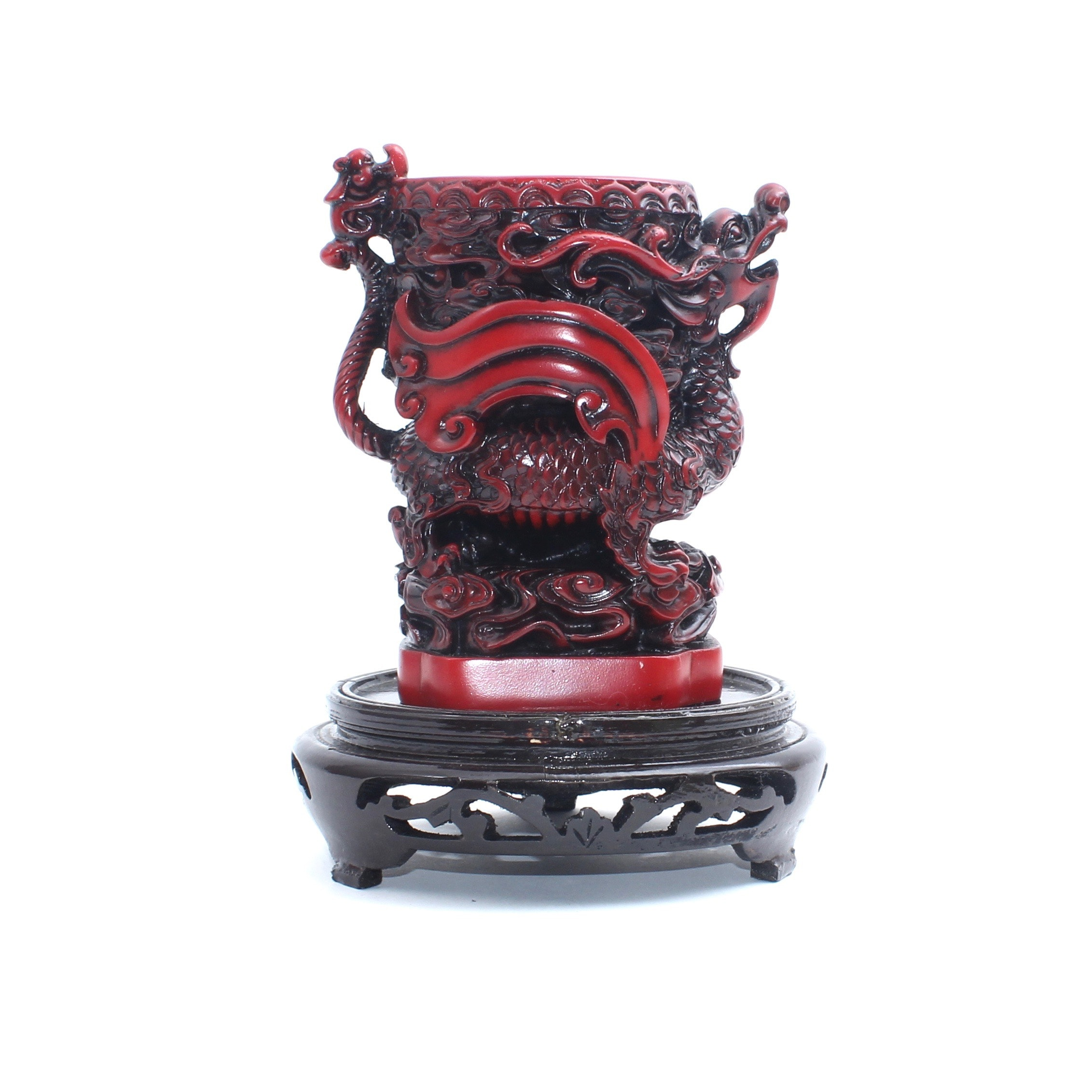 Shou-Shan Cinnabar Colored Handcarved Resin Dragon Vase and Decorative Stand
