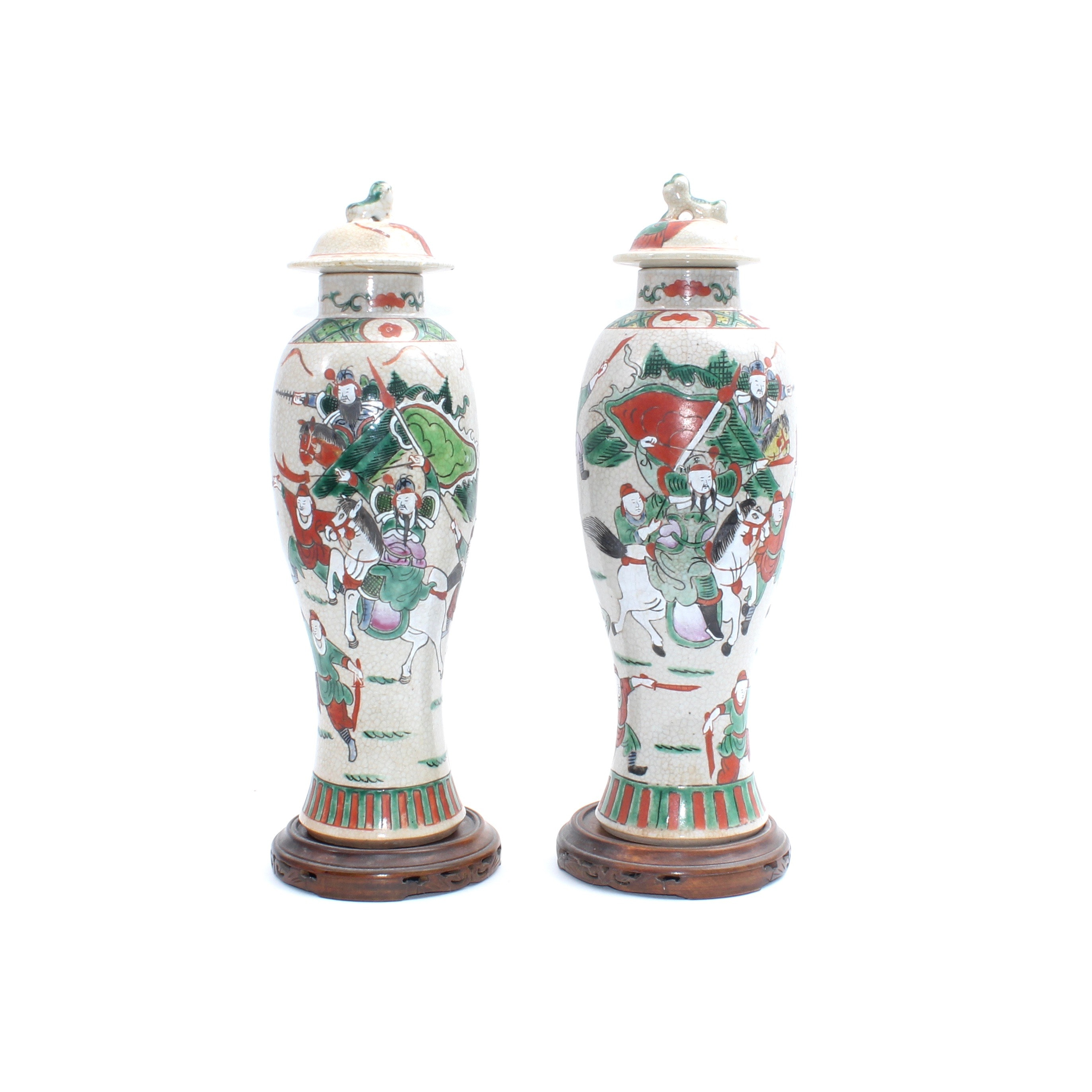 Hand Painted Chinese Import Porcelain Lidded Urns
