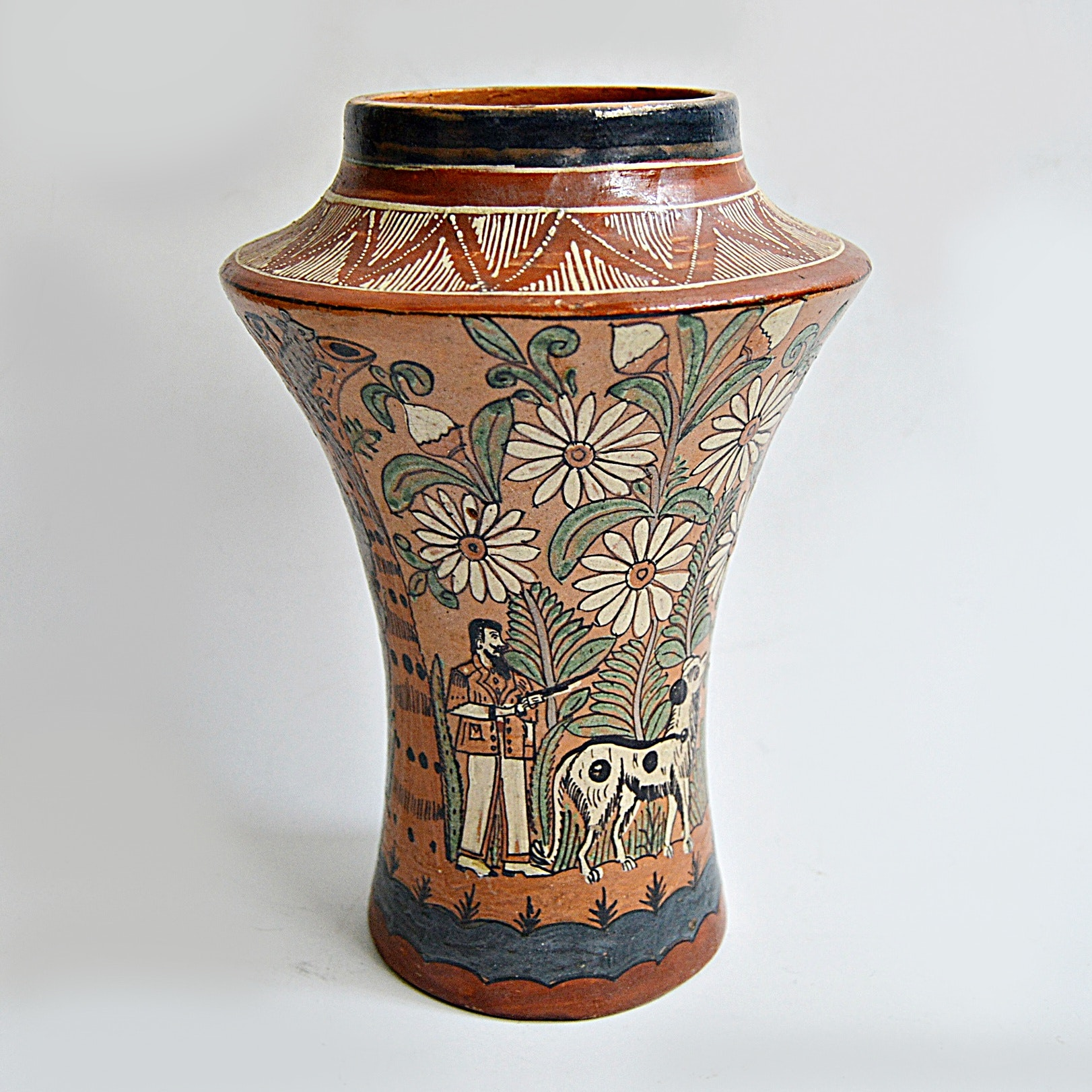 Early 19th Century Mexican Hand Painted Folk Art Terra Cotta Pottery Vase