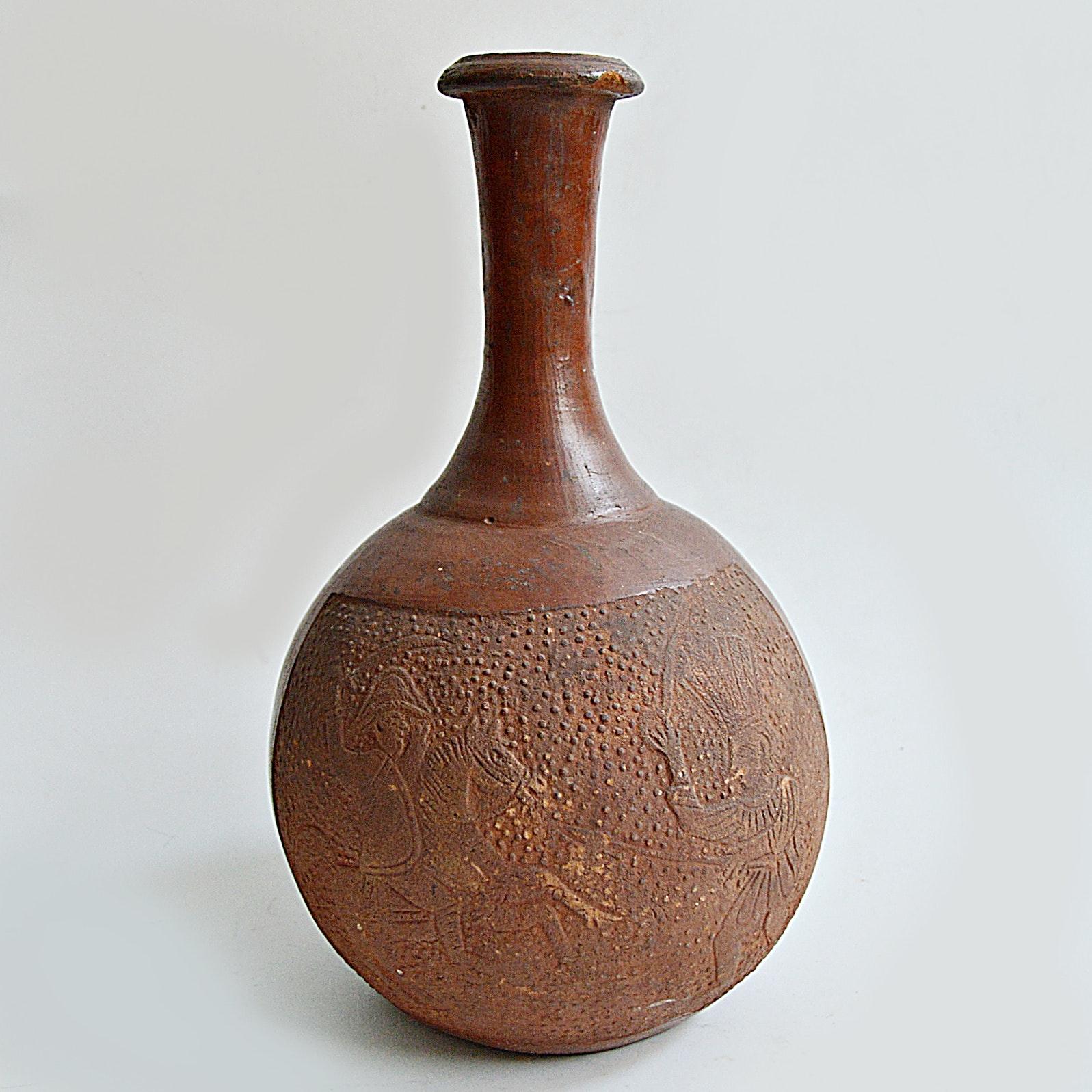 Late 18th-Early 19th Century Mesoamerican Terra Cotta Folk Art Vase