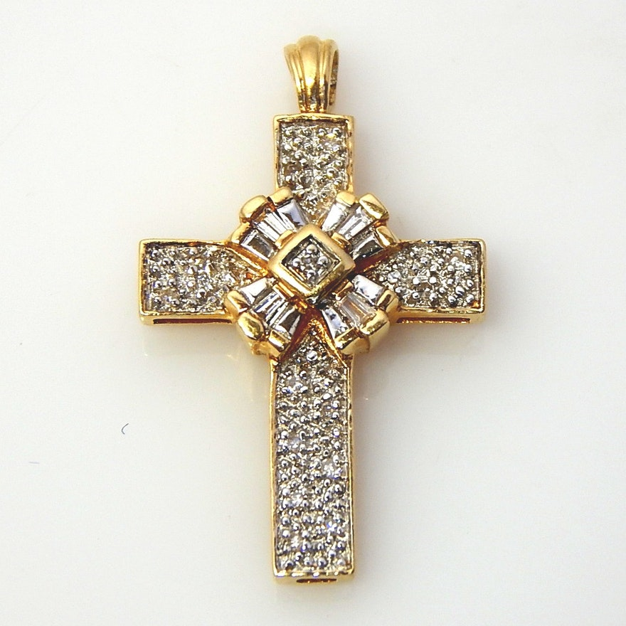 14k yellow gold pav diamond cross pendant ebth 14k yellow gold pav diamond cross pendant aloadofball Gallery