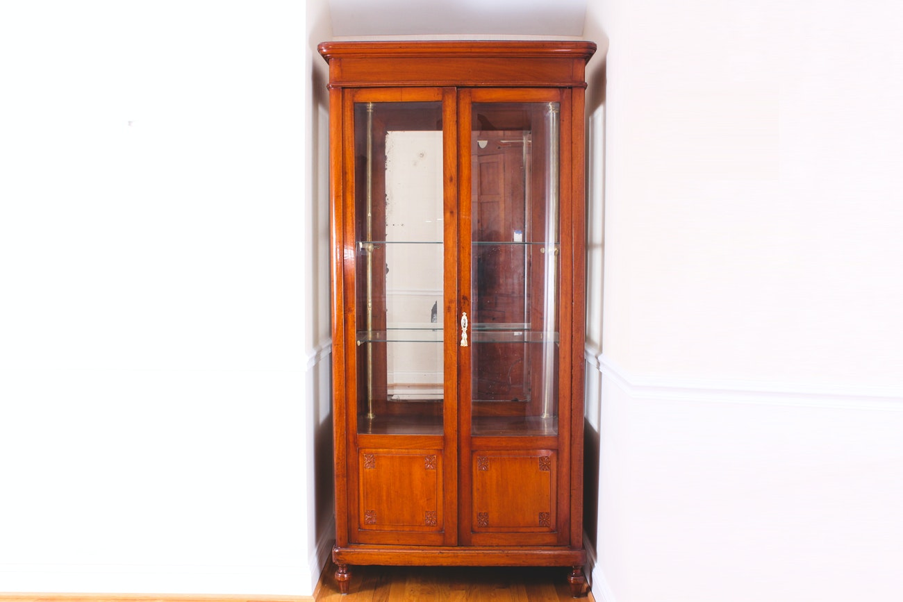 Antique Cherry Wood Curio Cabinet ...