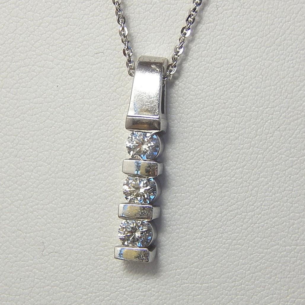 14K White Gold Three Stone 0.95 CTW Diamond Pendant Necklace