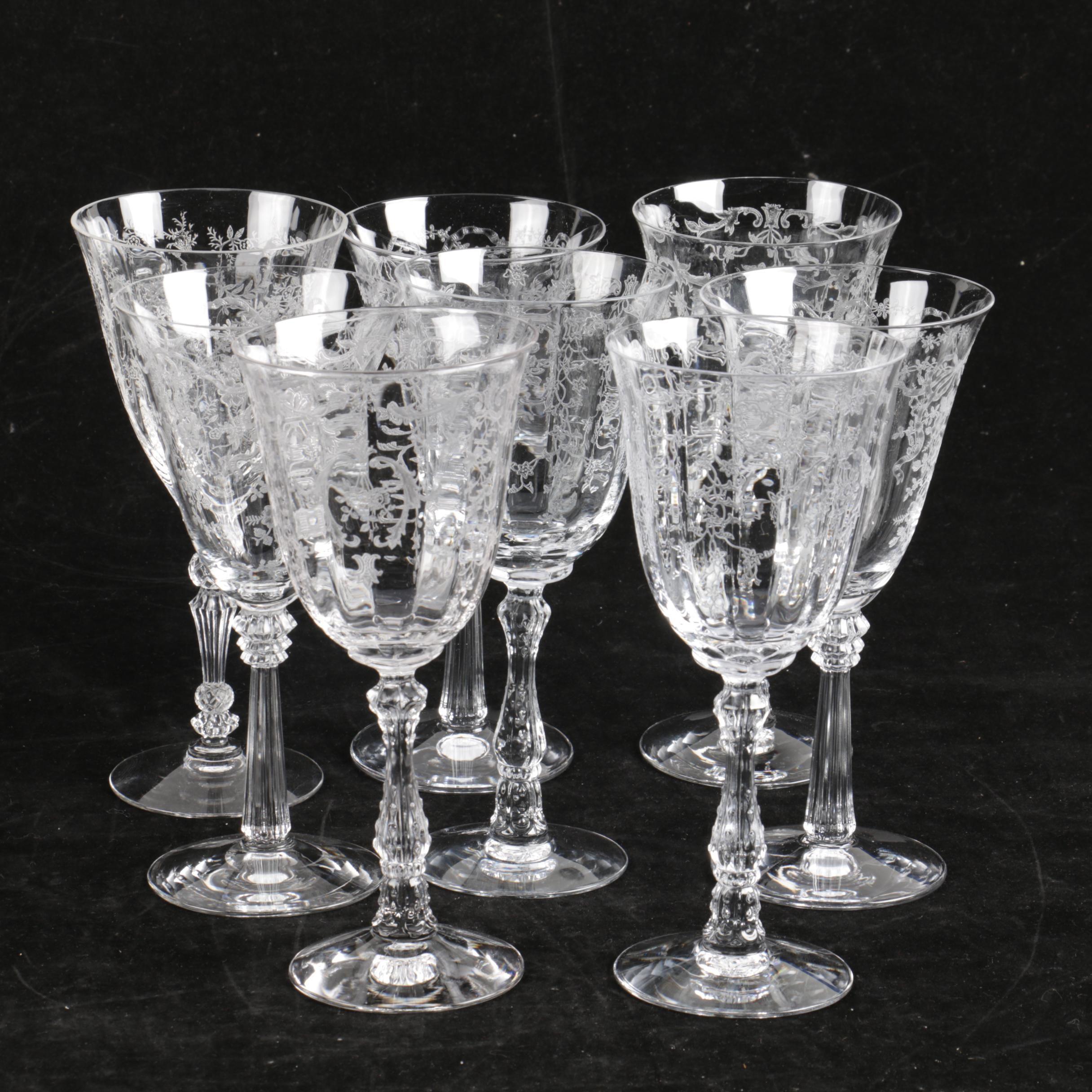 "Vintage Fostoria ""Romance"" and ""Navarre"" Etched Wine Goblets"