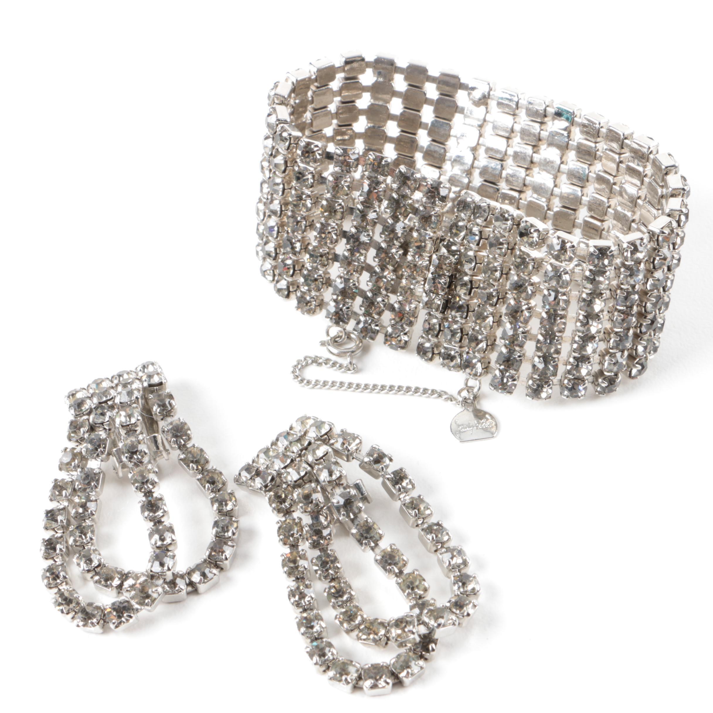 Vintage Judy Lee Silver-Tone Glass Crystal Demi Parure