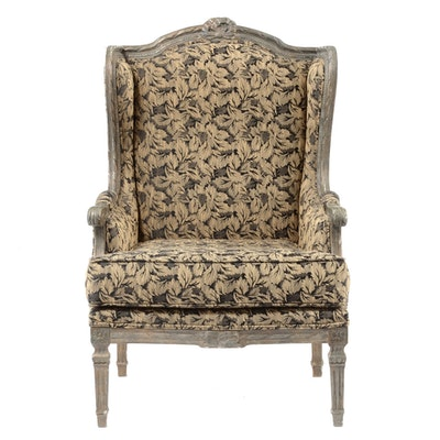 Upholstered Wingback Armchair - Online Furniture Auctions Vintage Furniture Auction Antique