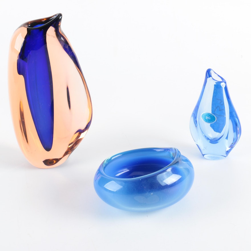 Mouth Blown Glass Bowl And Art Glass Vases Ebth