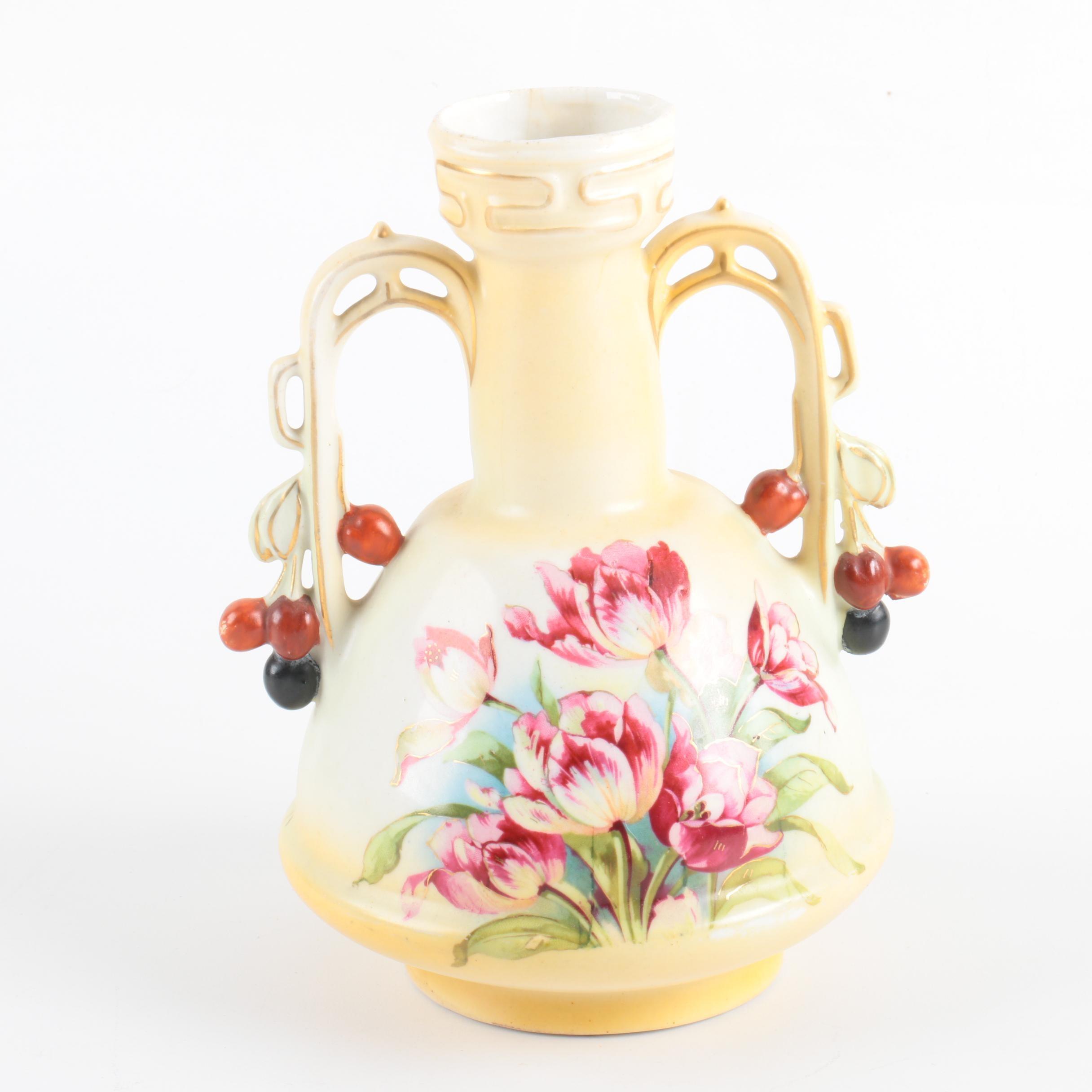 Antique Continental Porcelain Figural  Vase