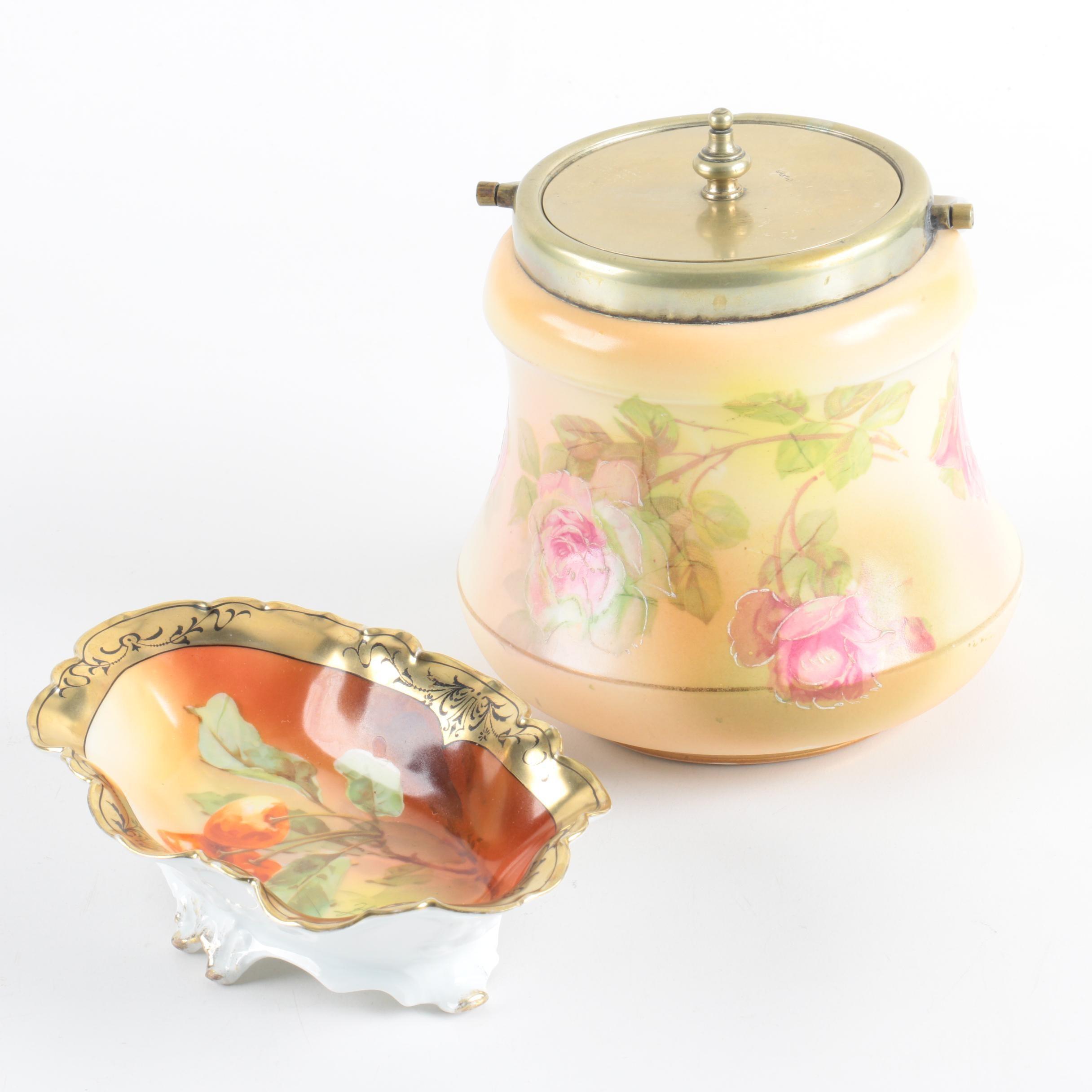 Porcelain Biscuit Jar with Silver Plate Lid and Tirschenreuth Porcelain Dish