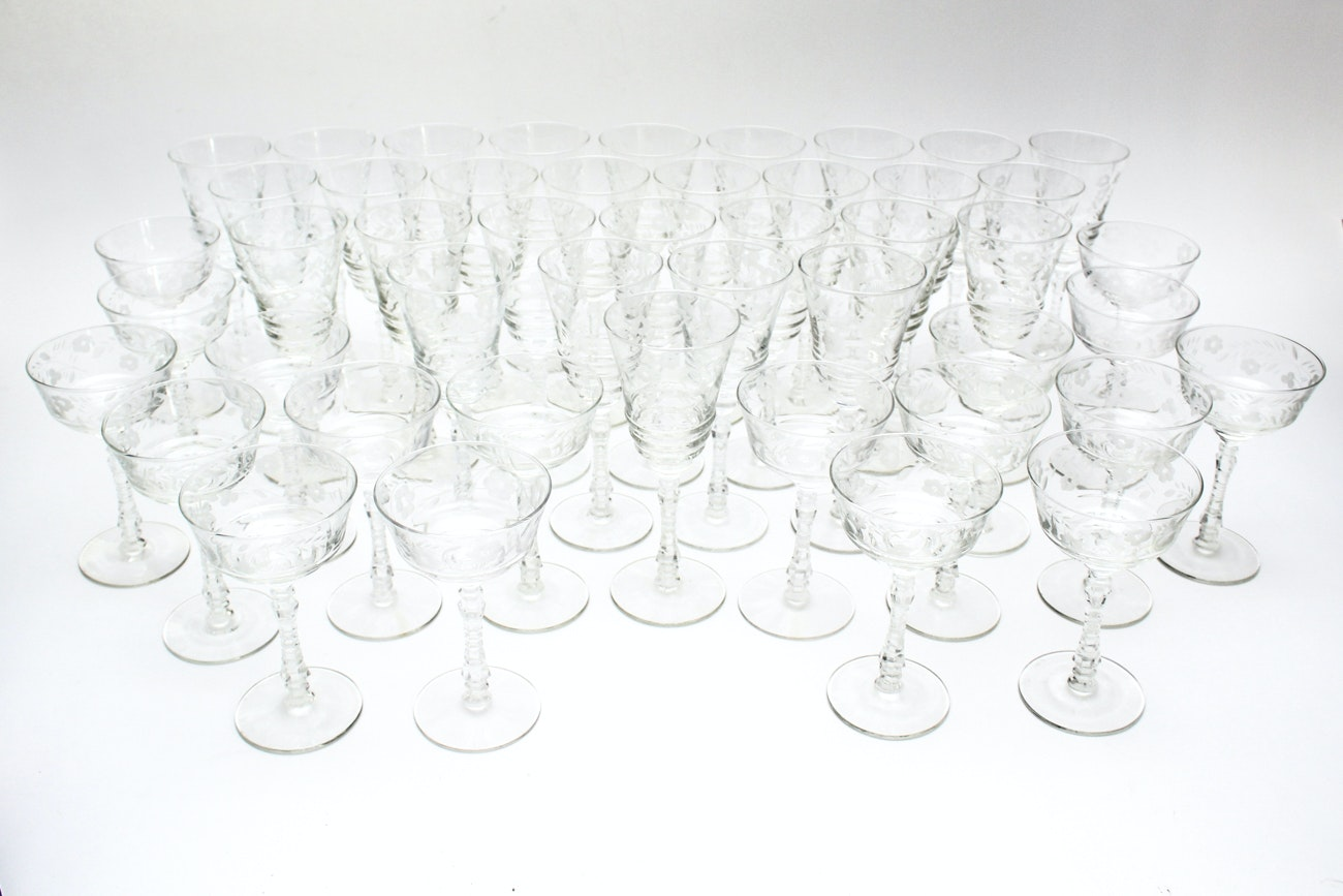 Etched Foliate Glassware Collection