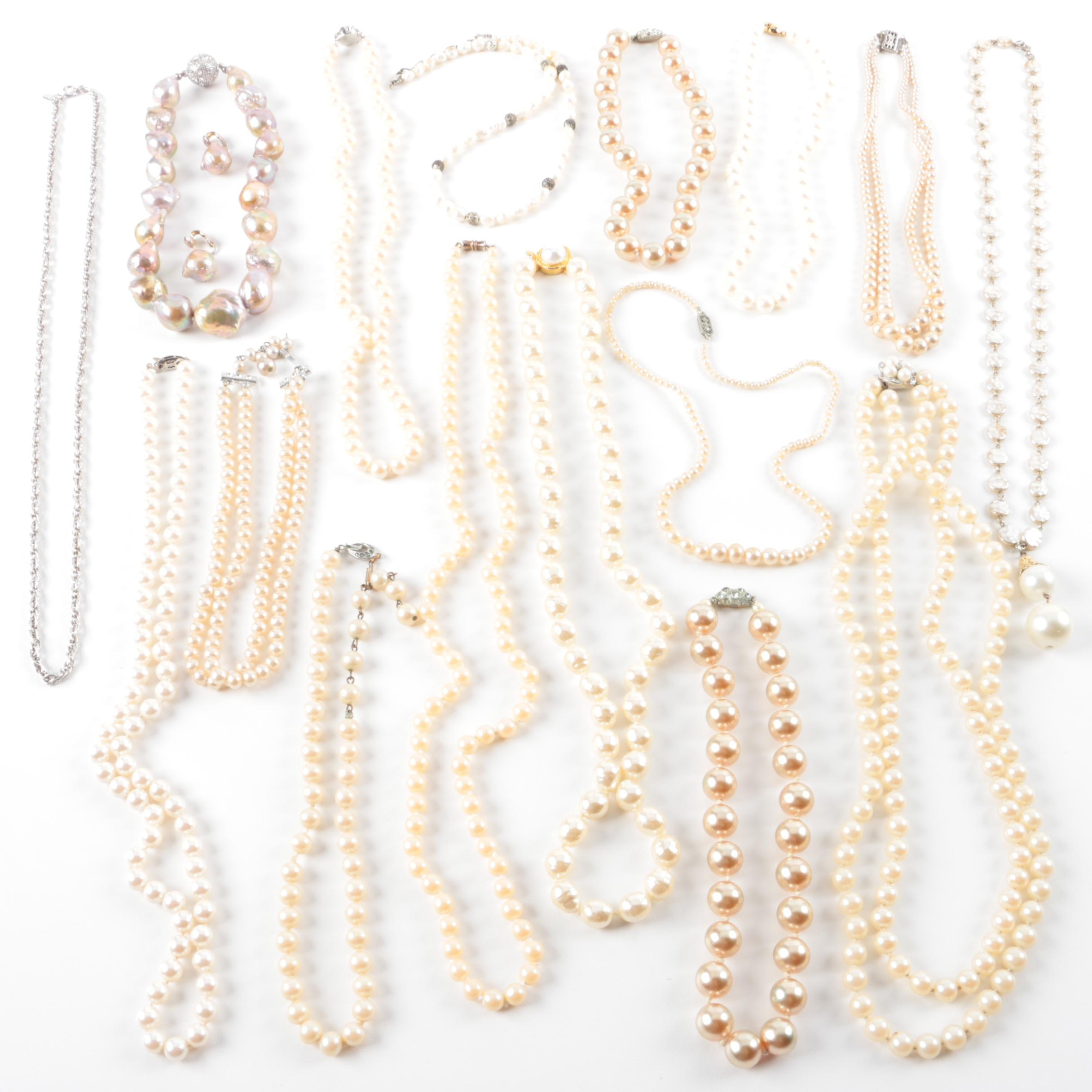 Selection of Beaded Necklaces and Earrings Including Cultured Pearls