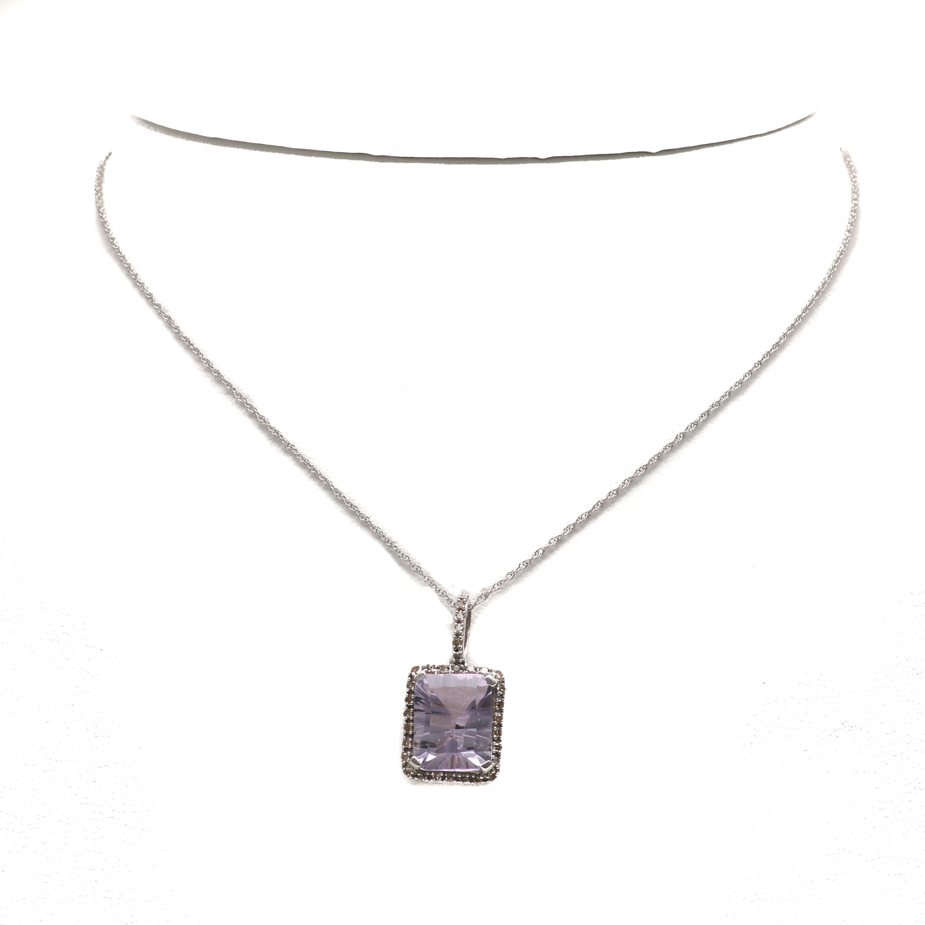 10K White Gold Amethyst and Diamond Pendant Necklace