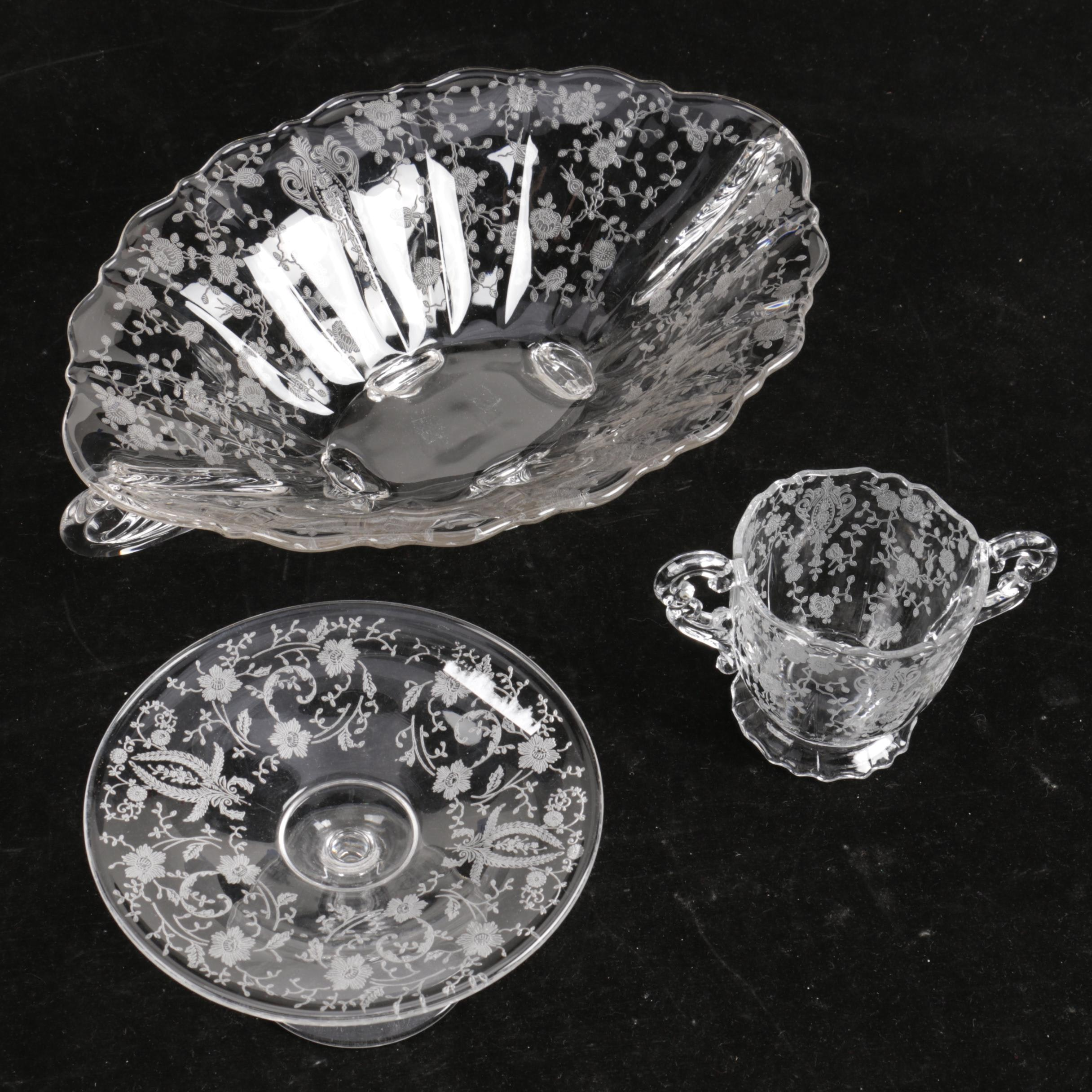 Vintage Etched Glass Serveware Including aCambridge Rosepoint Bowl