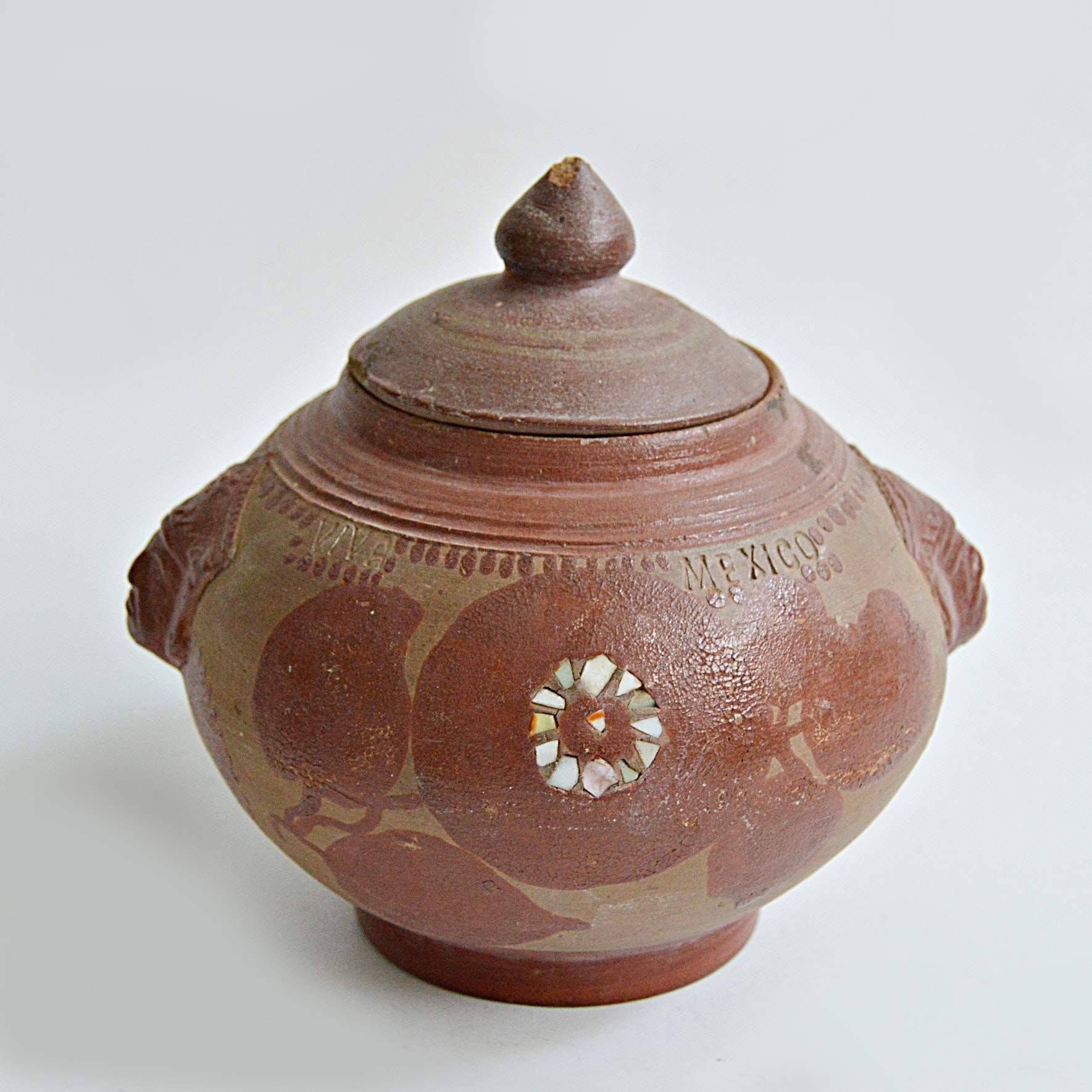 19th Century Mexican Hand Decorated Terra Cotta Lidded Jar with Shell Inlays
