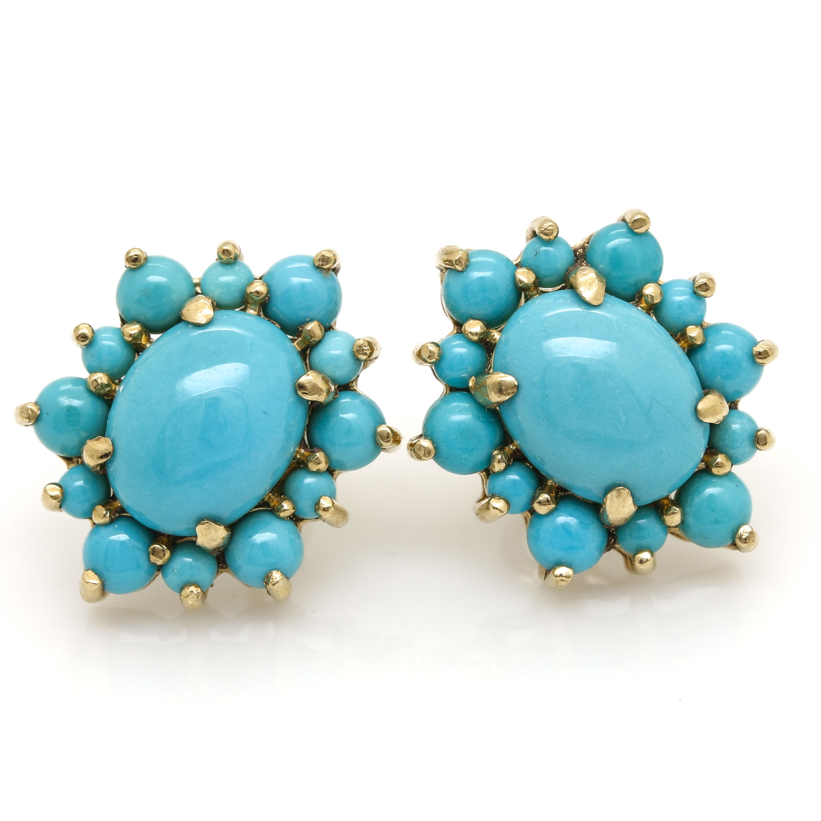 14K Yellow Gold Turquoise Drop Earrings