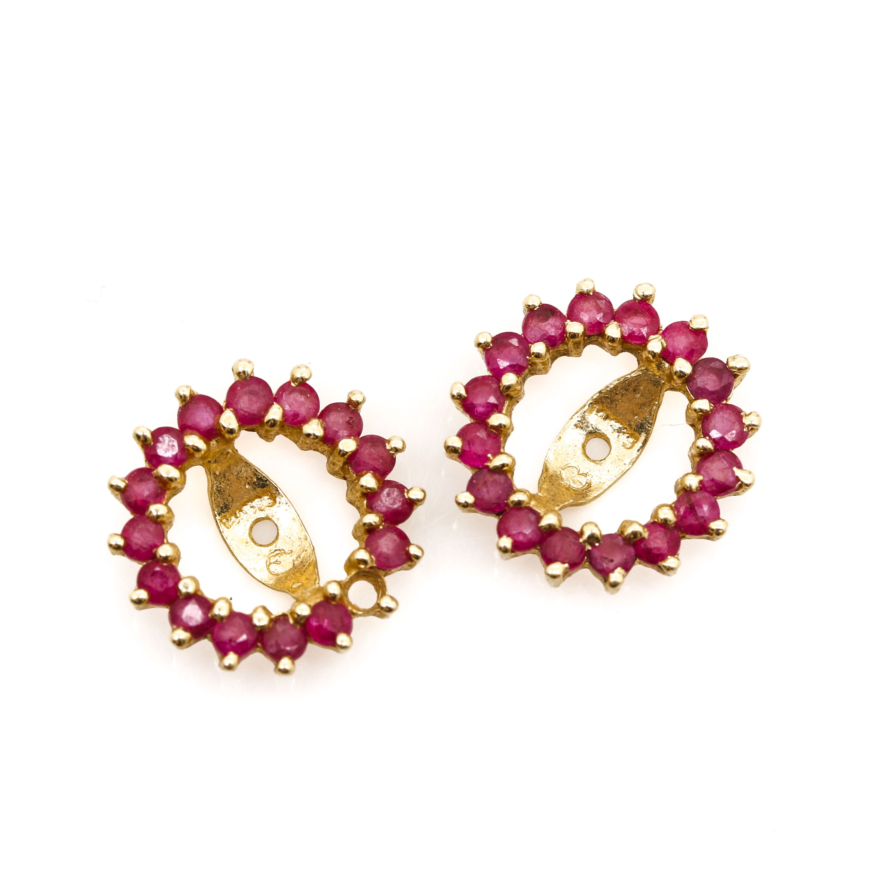 14K Yellow Gold Ruby Earring Jackets