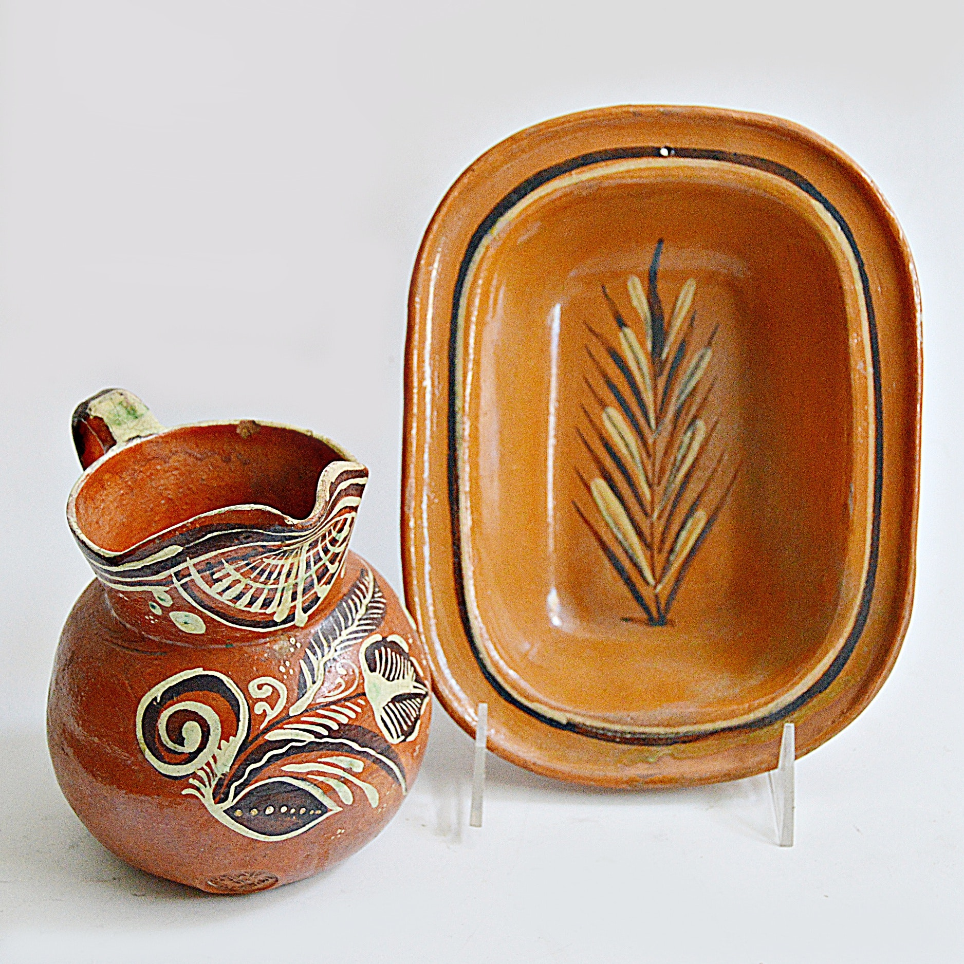 20th Century Mexican Hand Decorated Terra Cotta Pottery