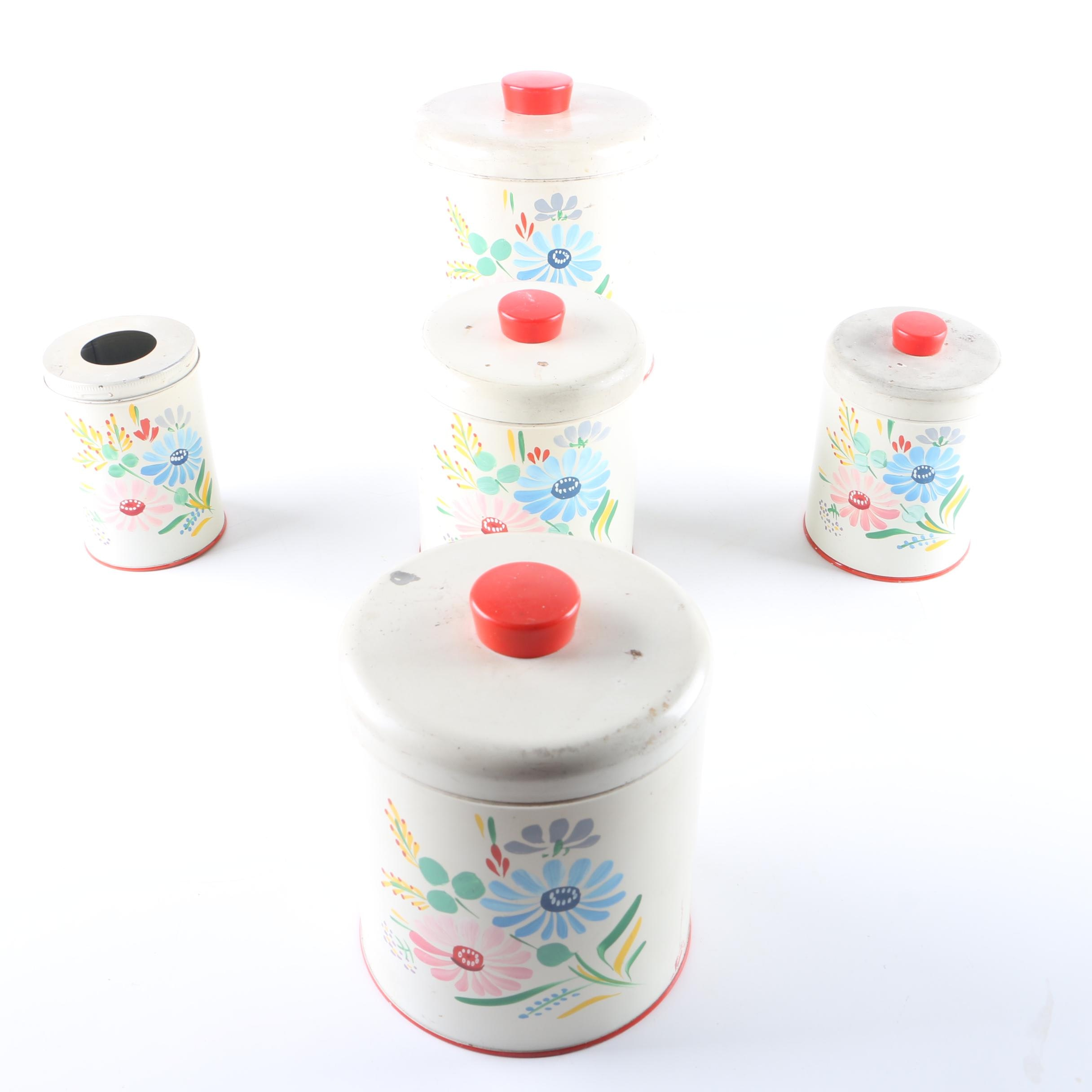 Vintage Hand-painted Ransburg Kitchen Canister Set