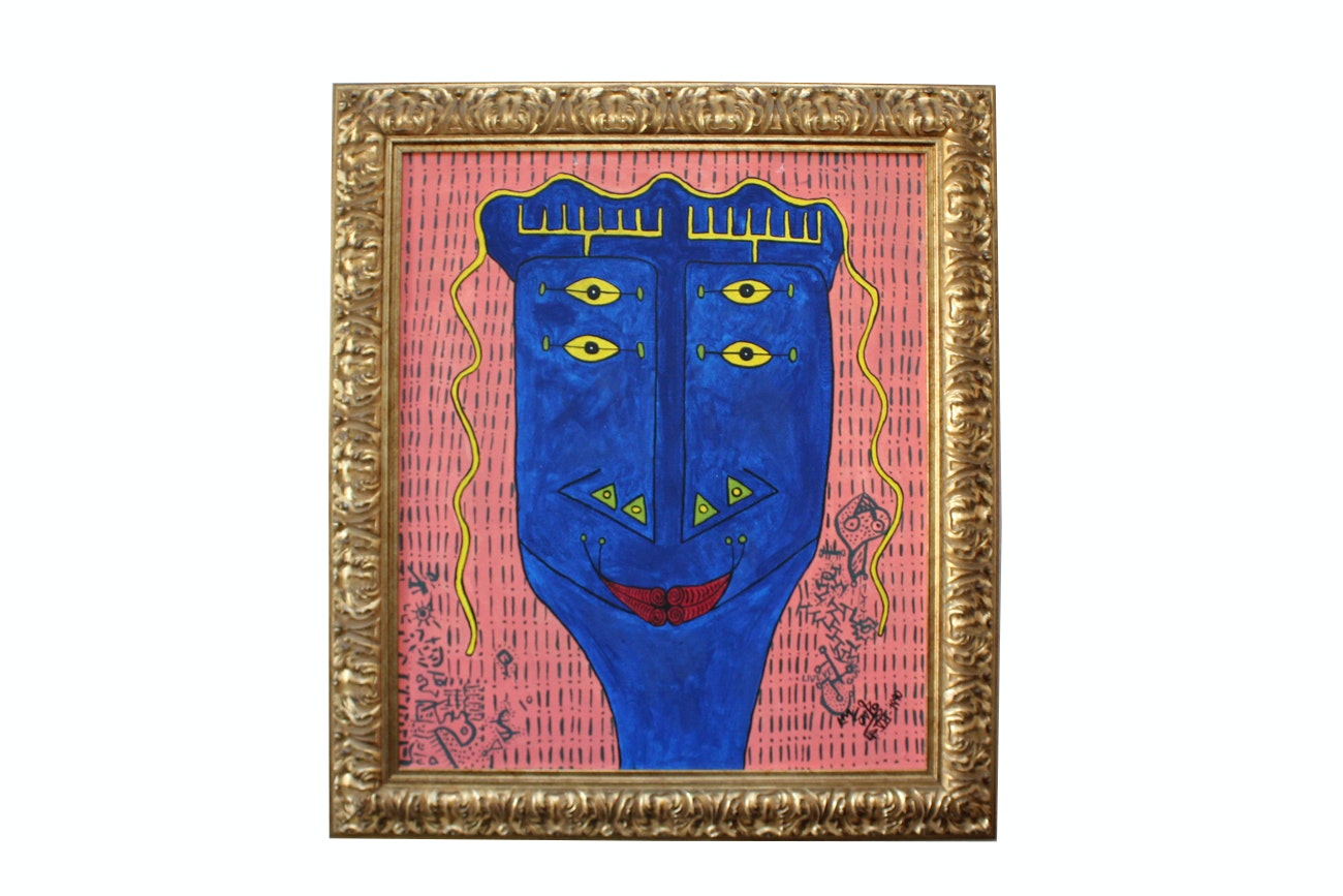 Folk Art Style Acrylic on Canvas of an Abstract Composition