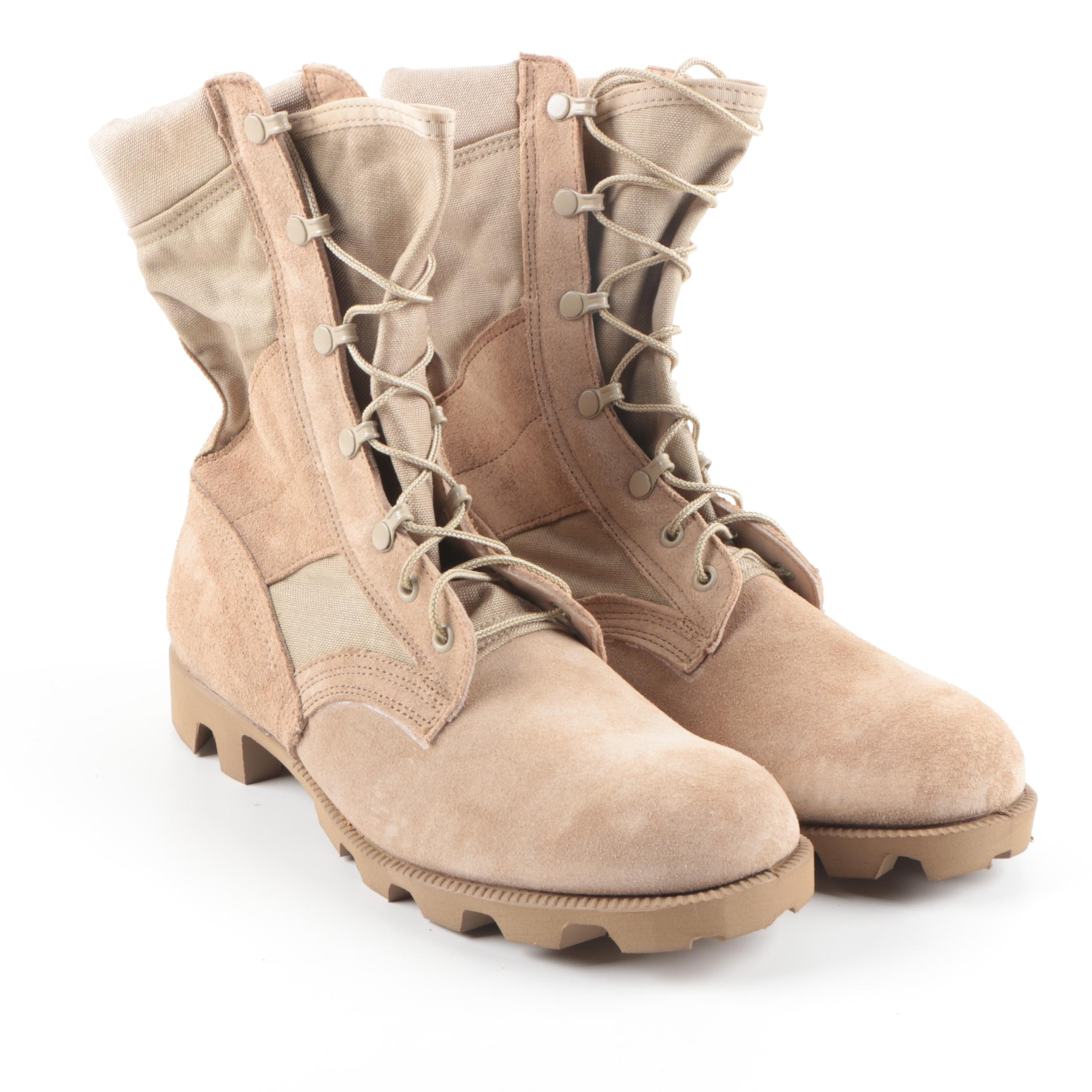 Men's Military Combat Boots in Tan Suede Leather and Fabric